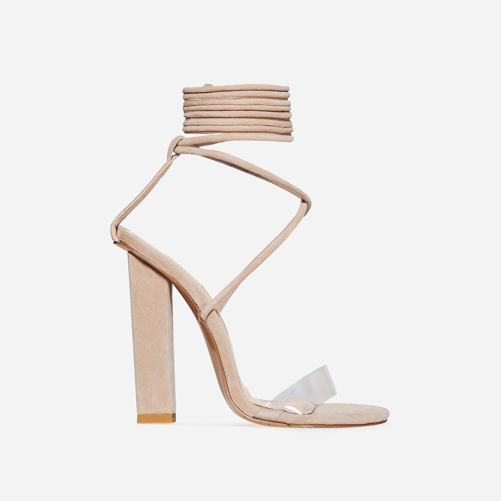 25469af19d3 Bello Perspex Lace Up Block Heel In Nude Faux Suede
