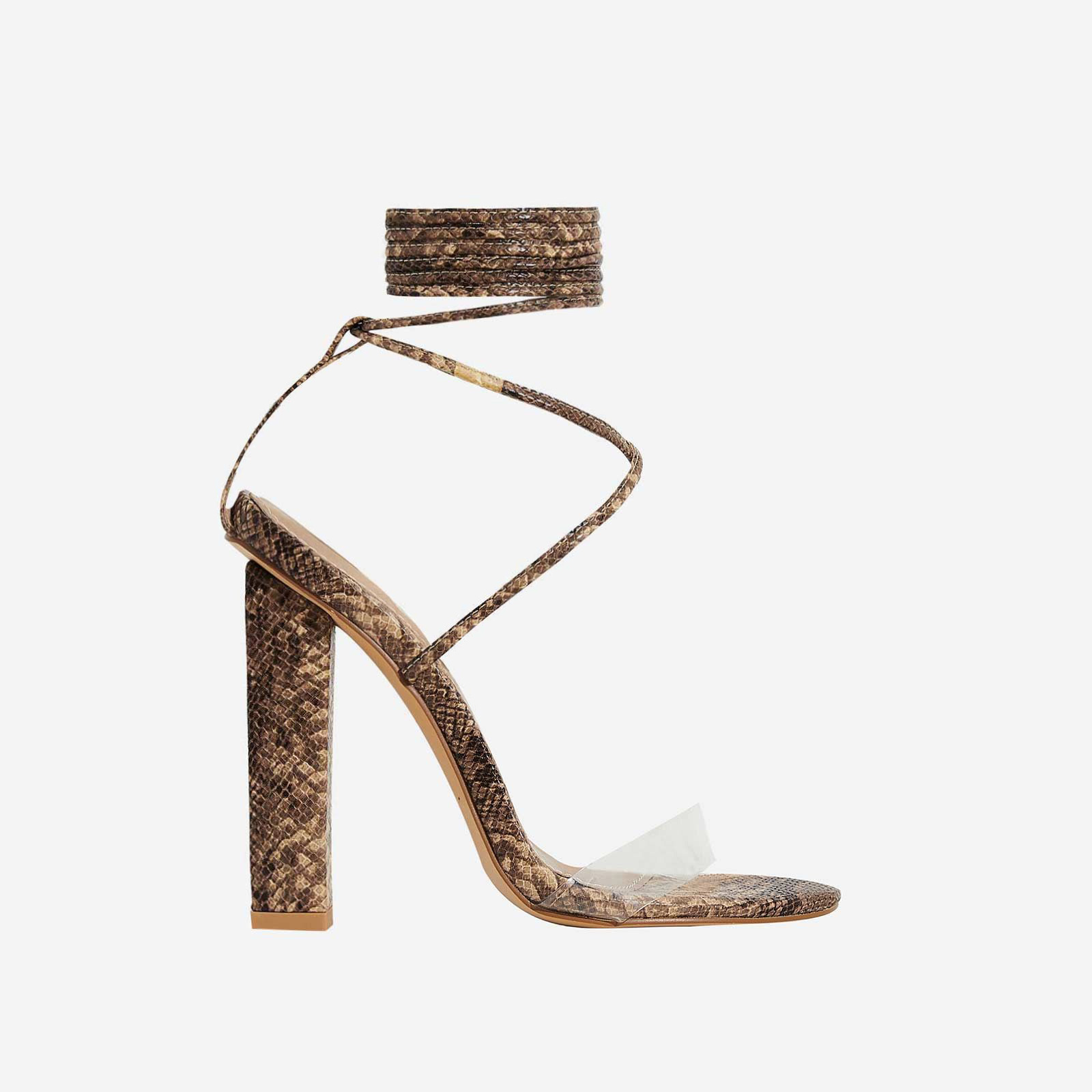 Bello Perspex Lace Up Block Heel In Nude Snake Print Faux Leather