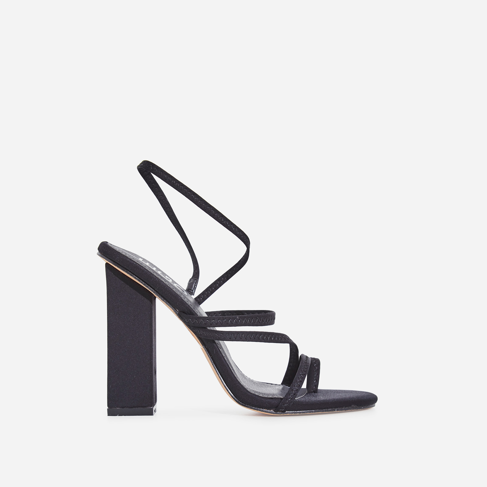 Bello-Ay Strappy Block Heel In Black Lycra