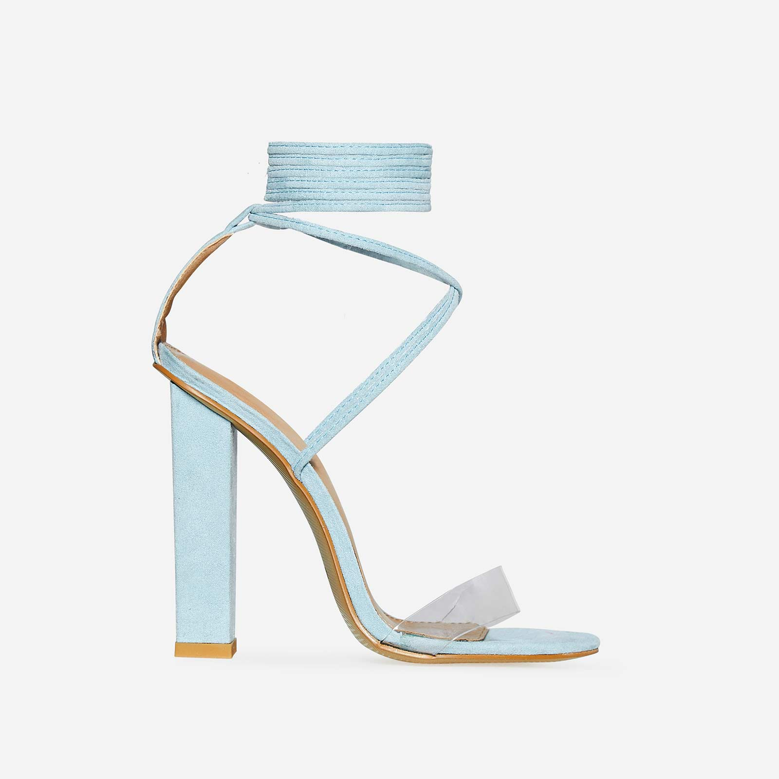 Bello Perspex Lace Up Block Heel In Pastel Blue Faux Suede