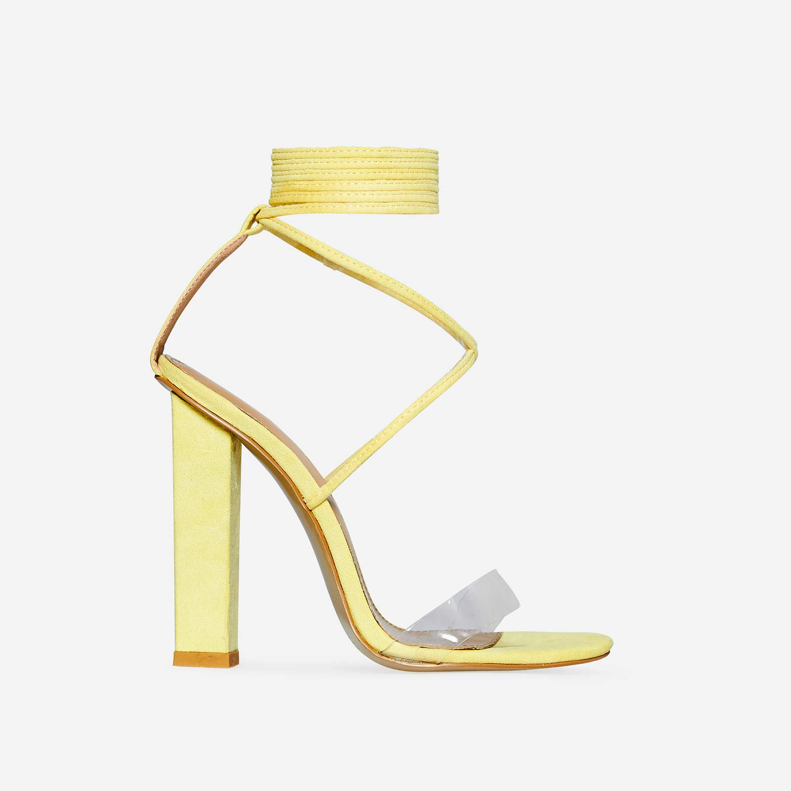 68f4bb6801c Bello Perspex Lace Up Block Heel In Lemon Yellow Faux Suede