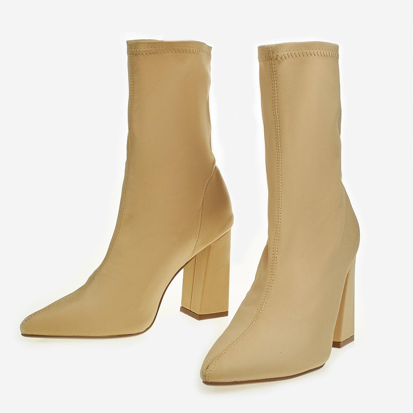 Carla Block Heel Ankle Sock Boot In Nude Lycra
