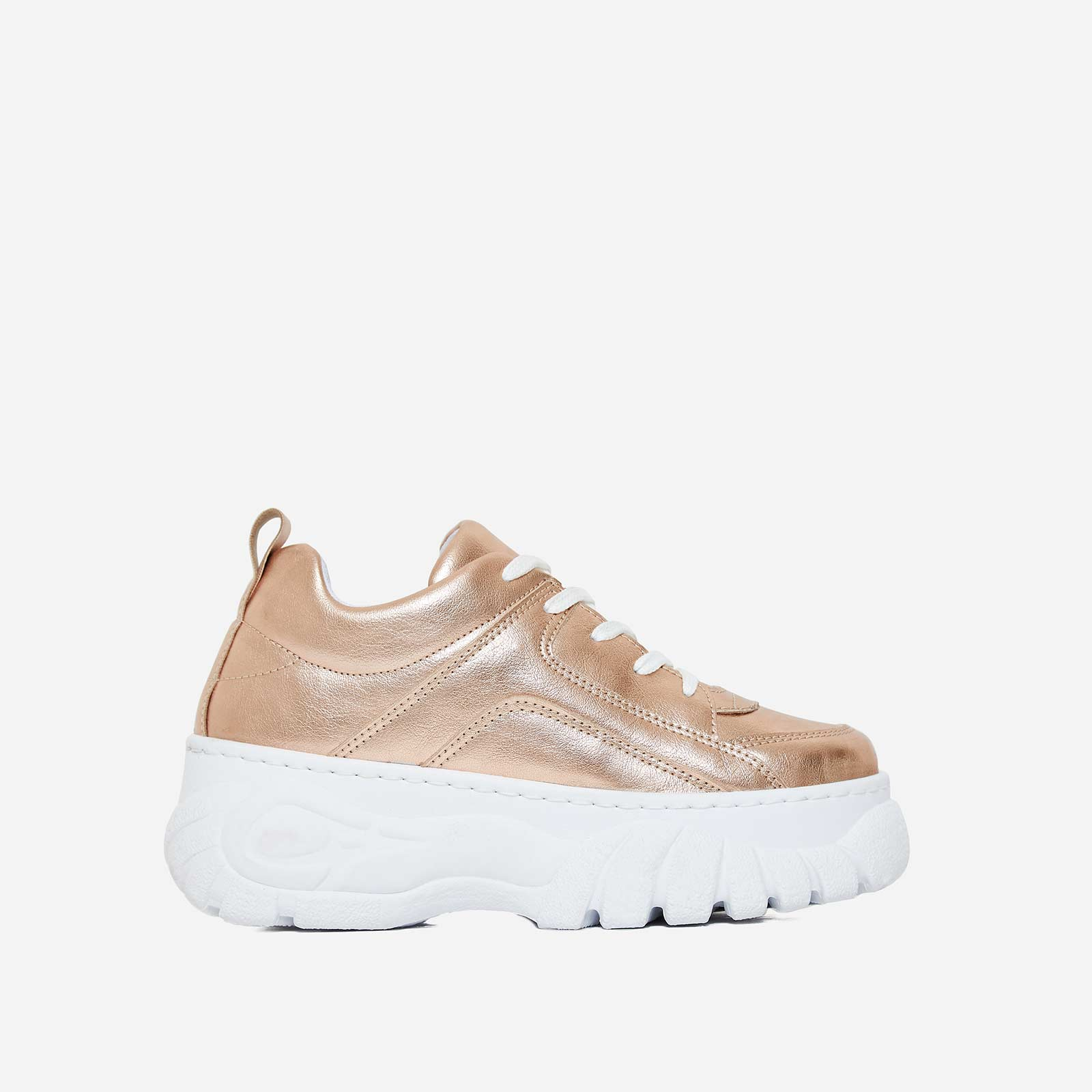 Galaxy Platform Trainer In Rose Gold Faux Leather
