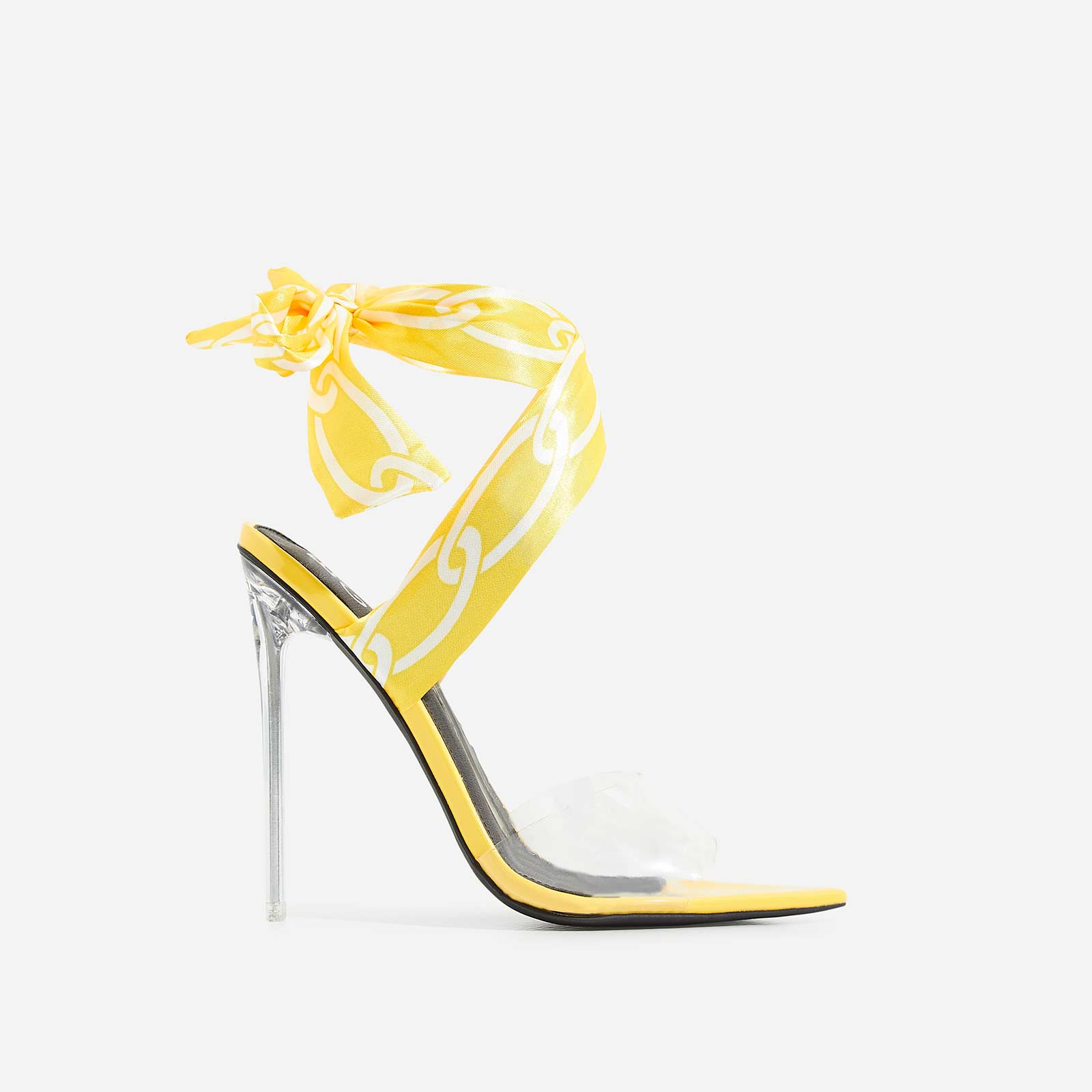 278061ced544 Bibi Printed Ribbon Lace Up Perspex Heel In Yellow Patent