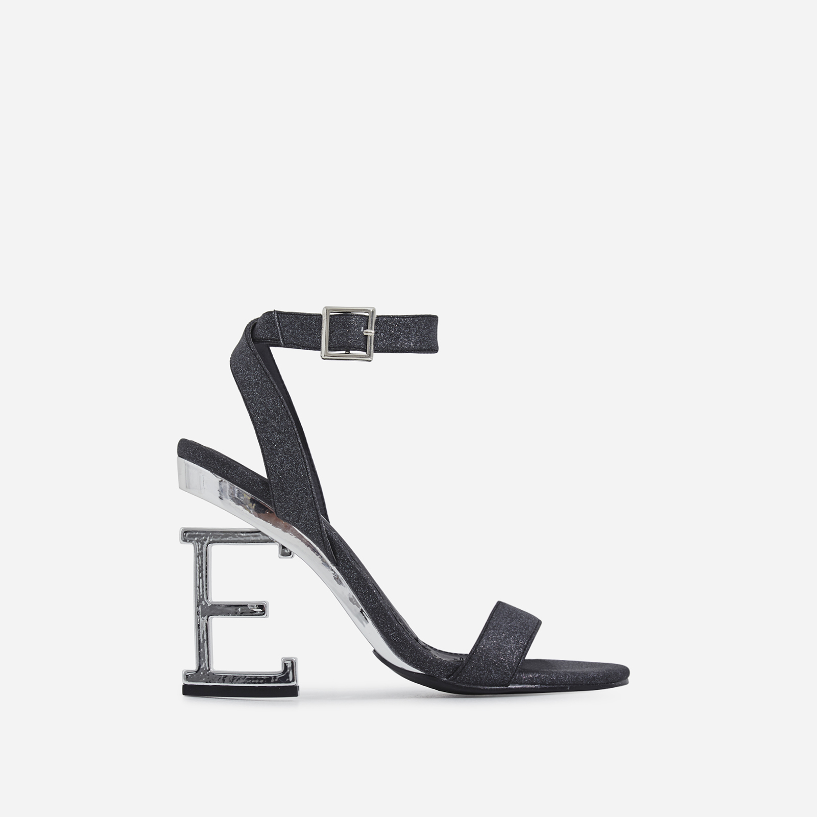 Birthday Letter E Heel In Black Glitter