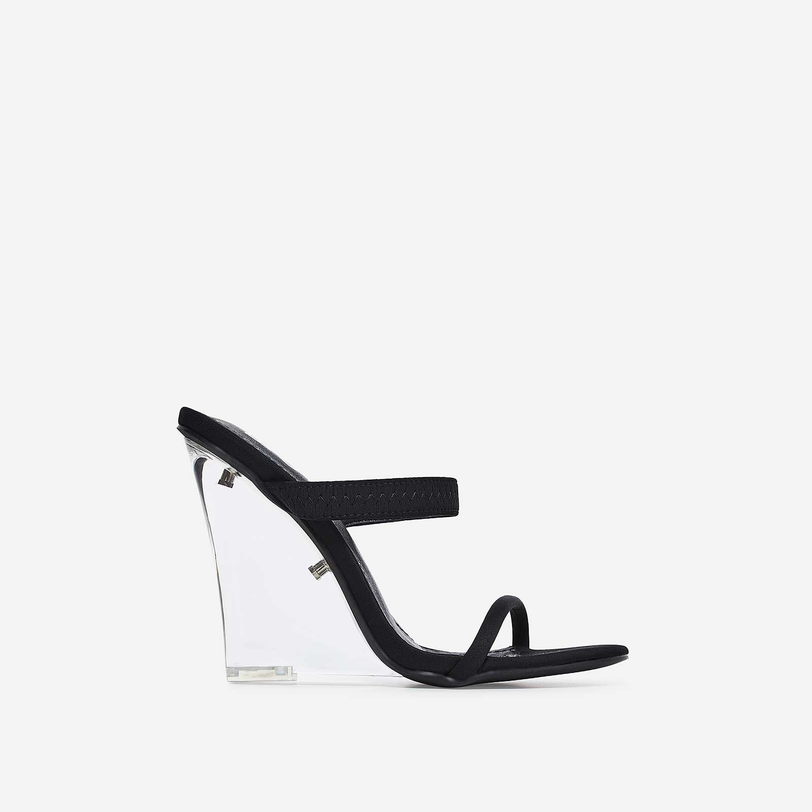 Bliss Perspex Wedge Mule In Black Lycra