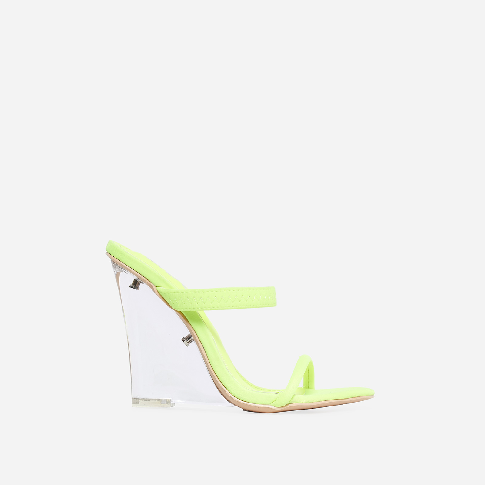 Bliss Perspex Wedge Mule In Lime Green Lycra