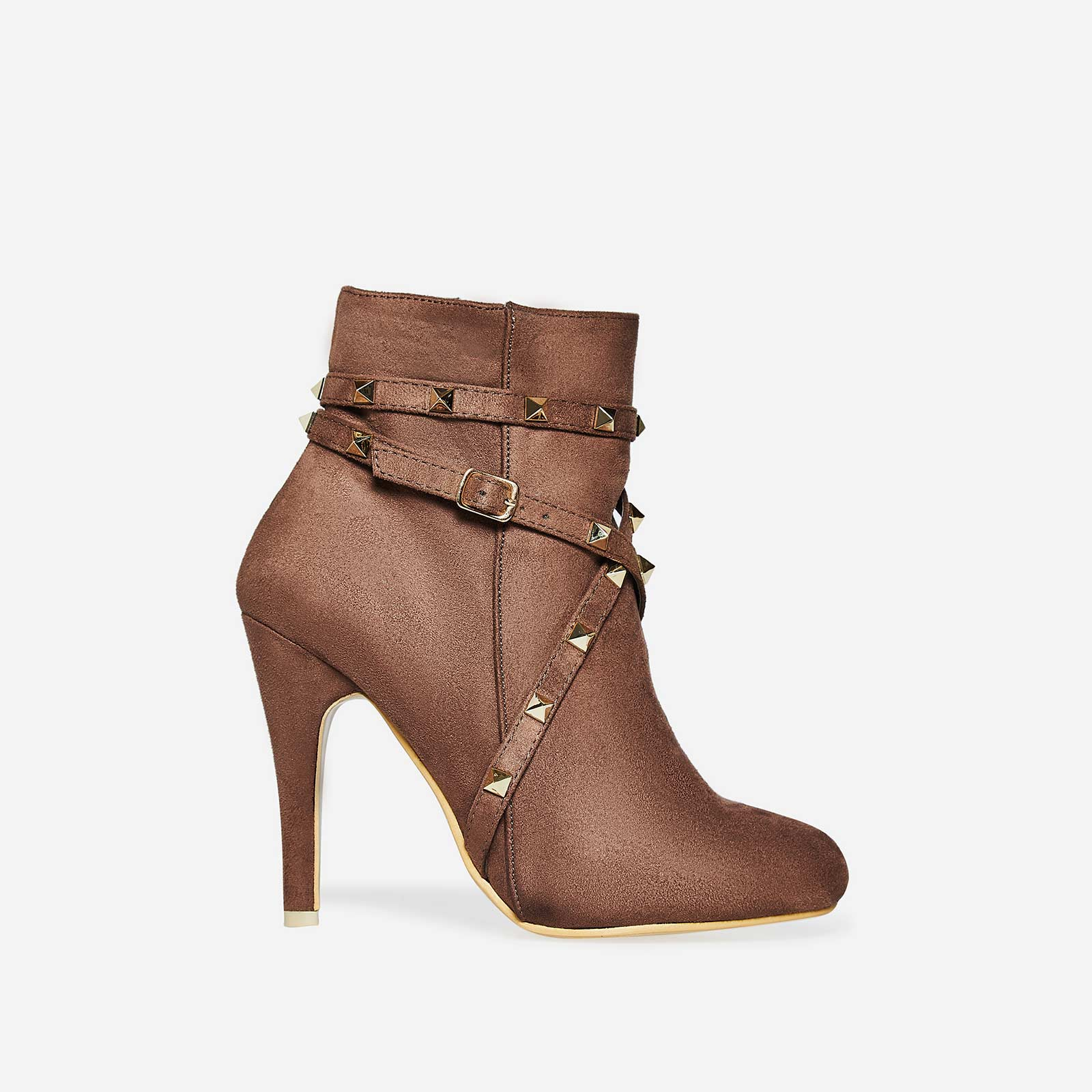 Naomi Studded Detail Ankle Boot In Mocha Faux Suede