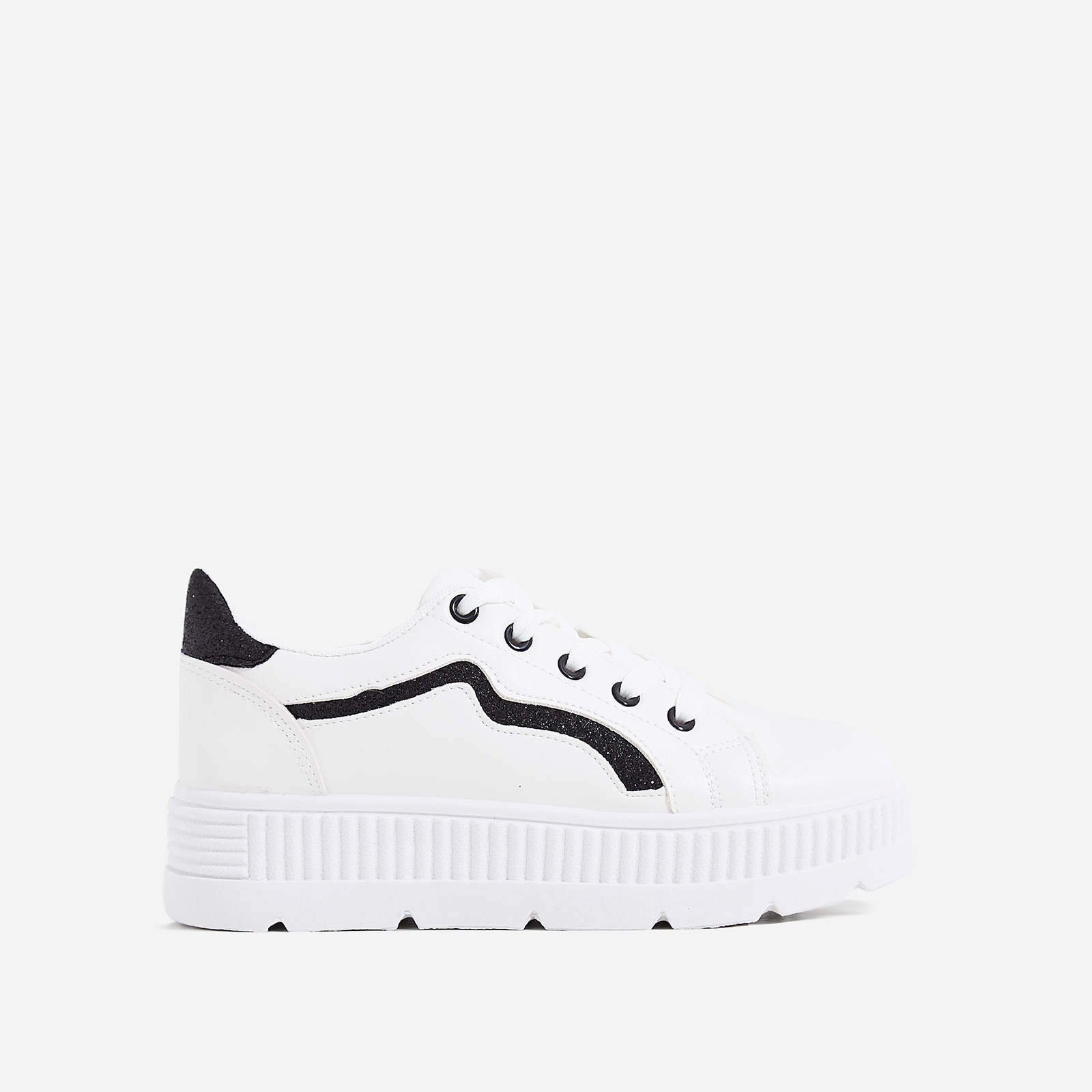 Ren Black Glitter Detail Chunky Sole Trainer In White