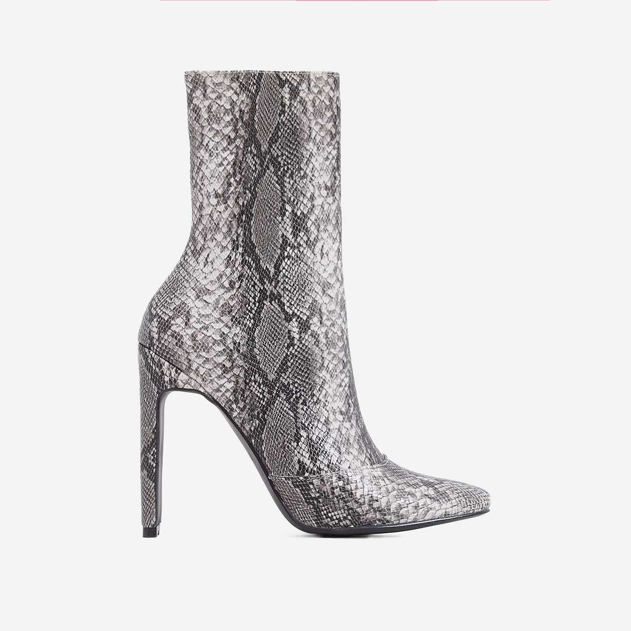 Boomslang Flat Heel Ankle Boot In Grey Snake Print Faux Leather