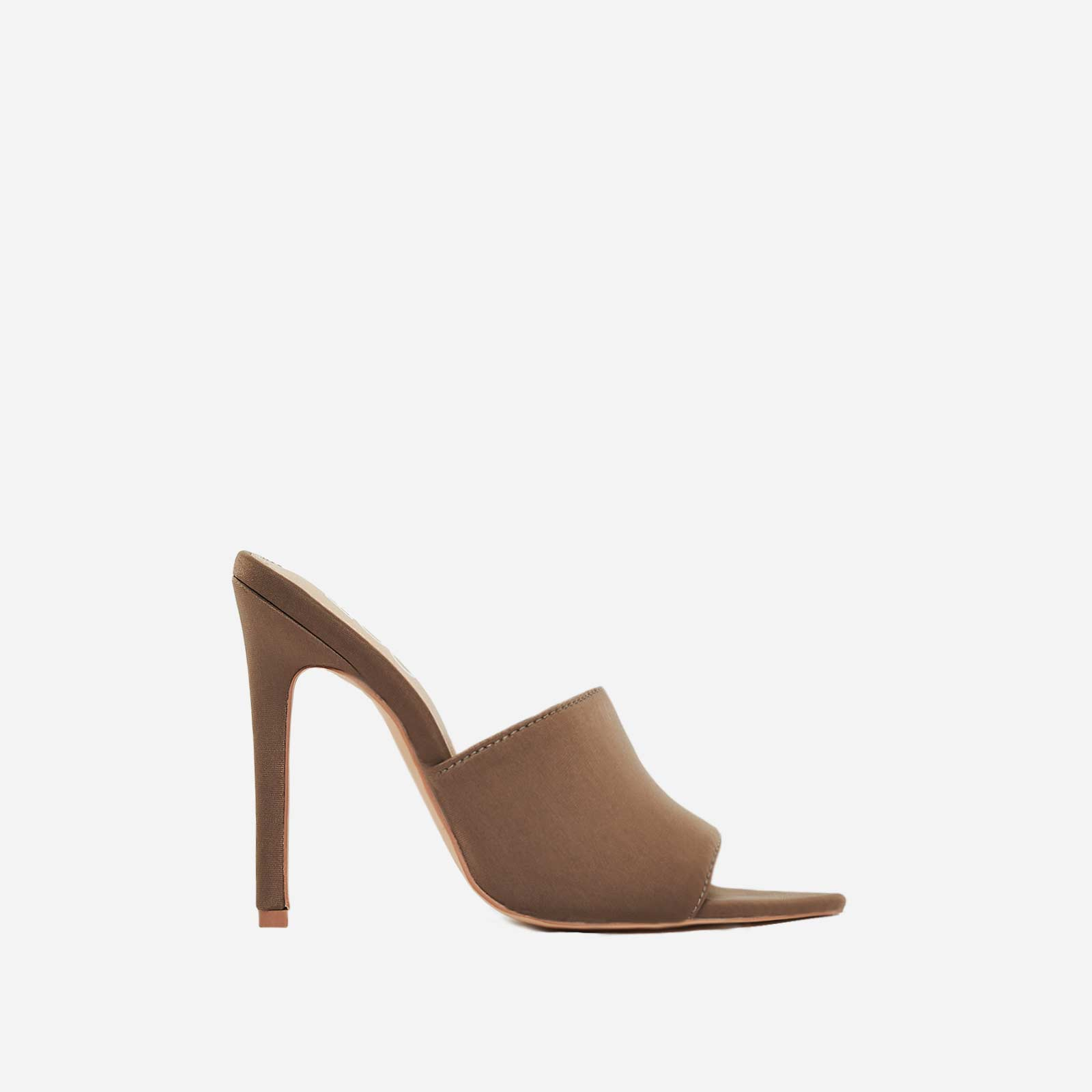 Briana Pointed Peep Toe Mule In Khaki Lycra