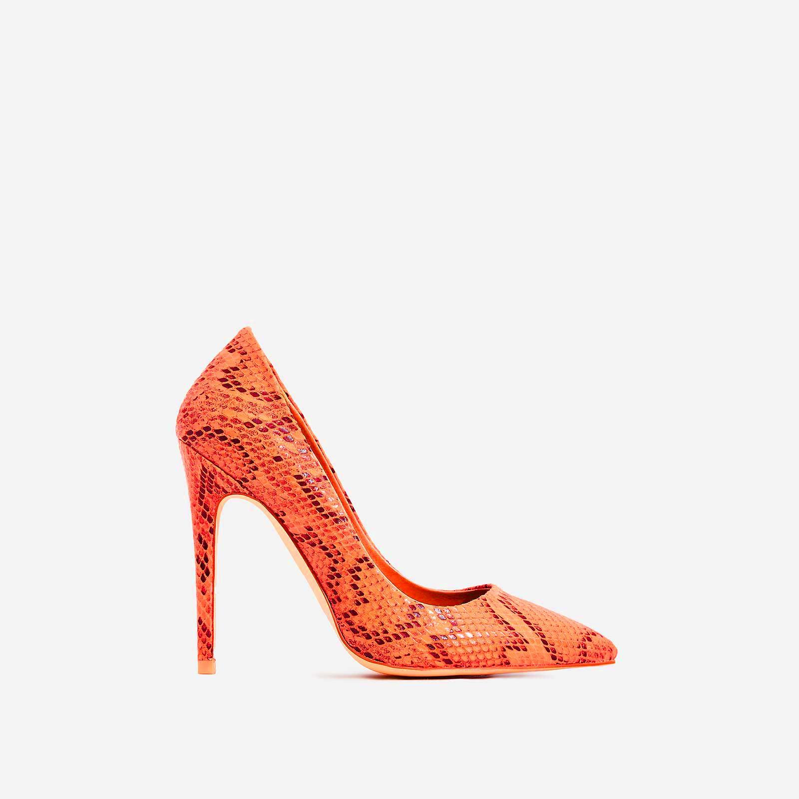 Bronte Court Heel In Neon Orange Snake Print Faux Leather