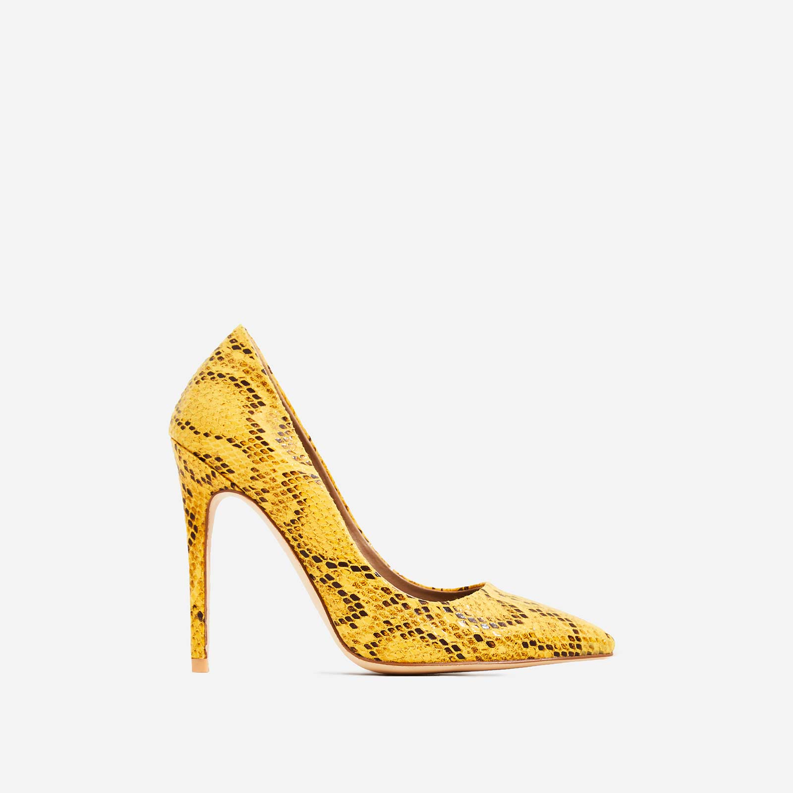 Bronte Court Heel In Neon Yellow Snake Print Faux Leather