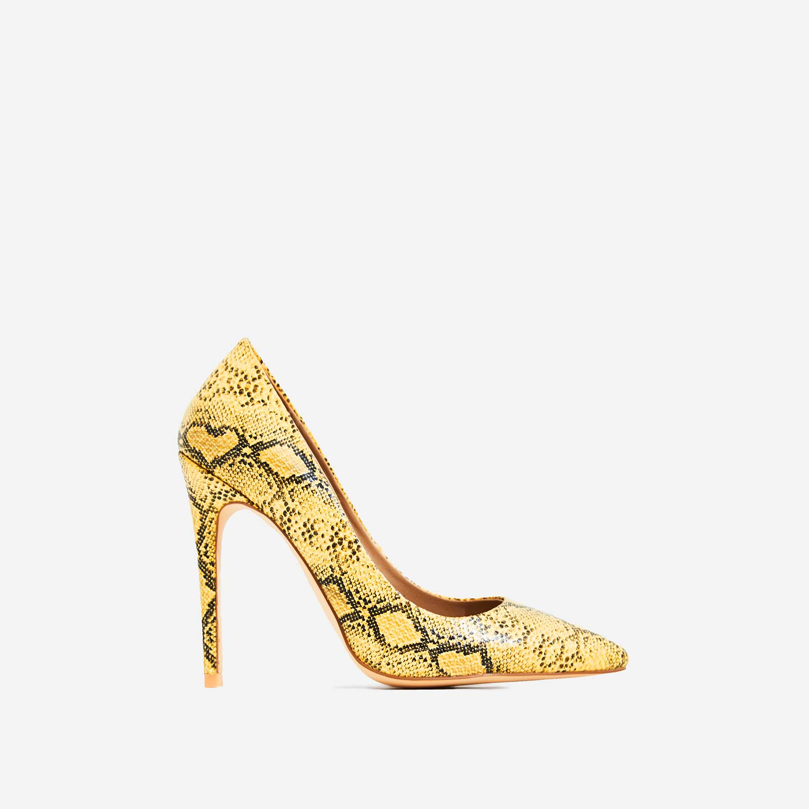 Bronte Court Heel In Yellow Snake Print Faux Leather