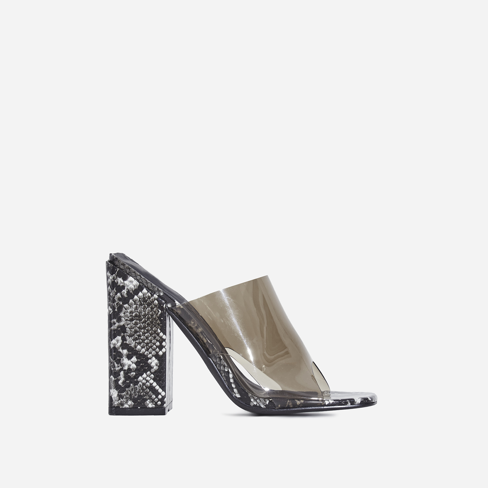 e1c64538524 Brooke Block Heel Perspex Peep Toe Mule In Black Snake Print Faux Leather