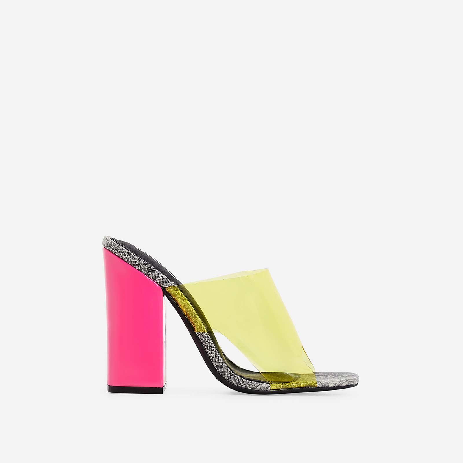 Brooke Patent Block Heel Perspex Peep Toe Mule In Grey Snake Print Faux Leather