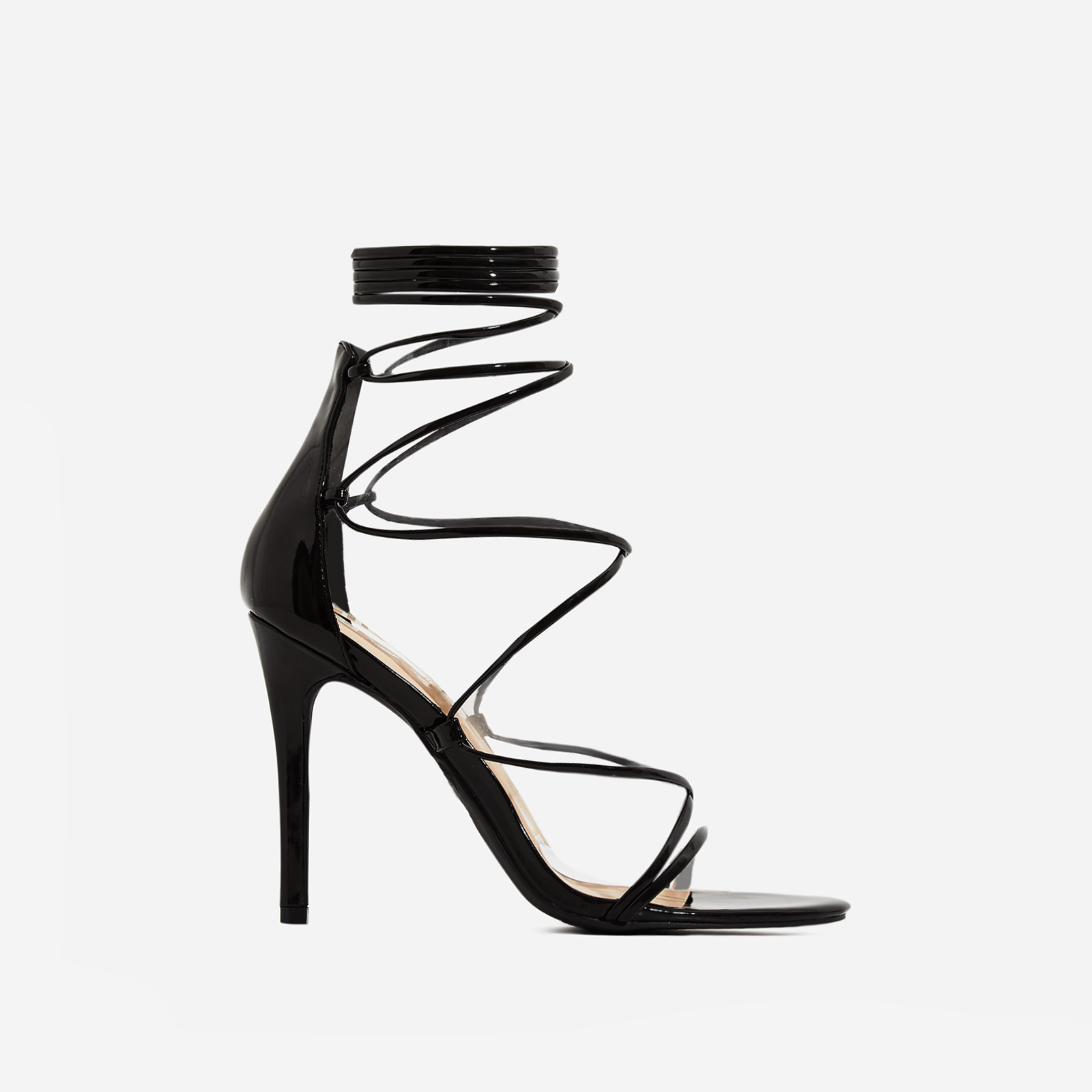Brooklyn Lace Up Heel In Black Patent