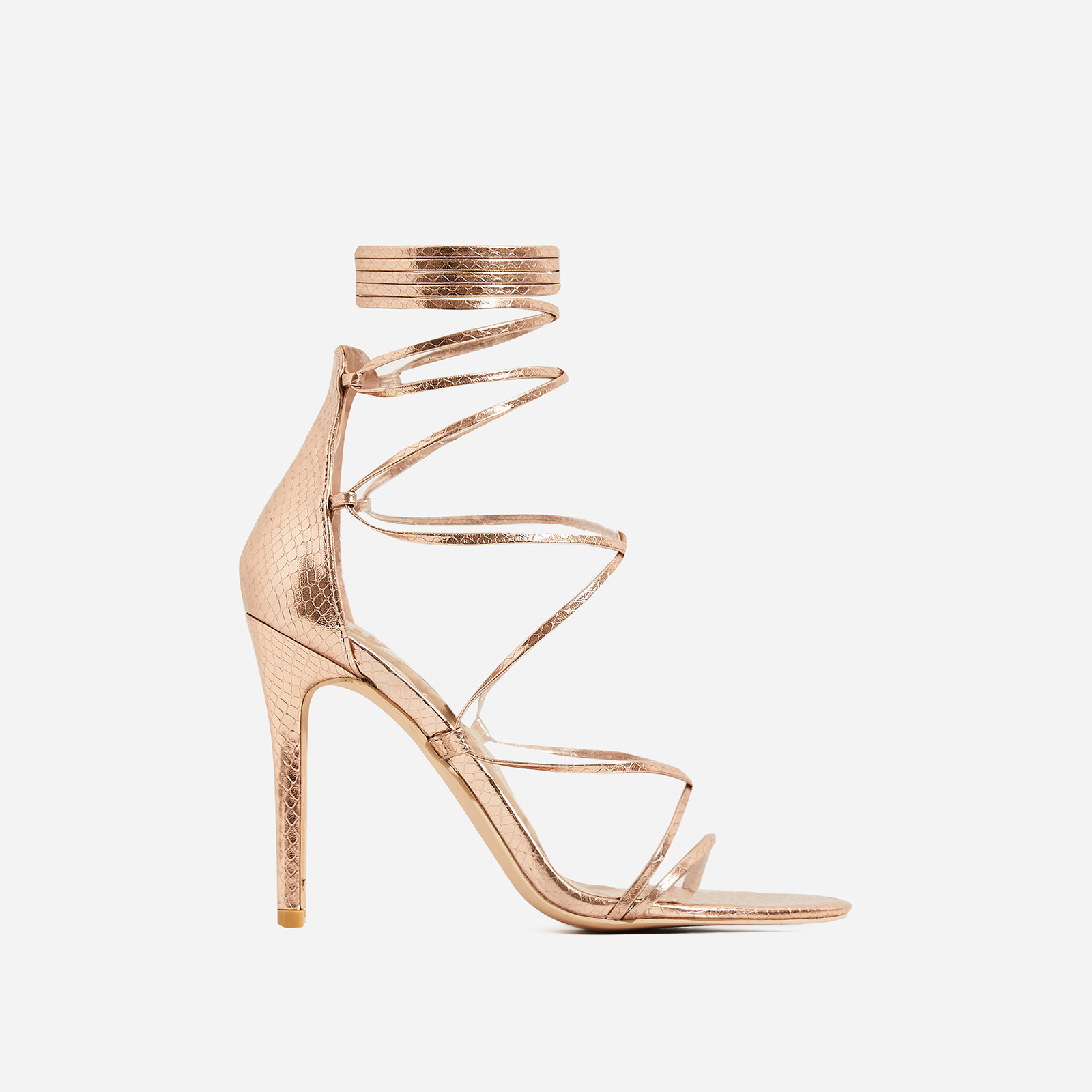 Brooklyn Lace Up Heel In Rose Gold Snake Print Faux Leather