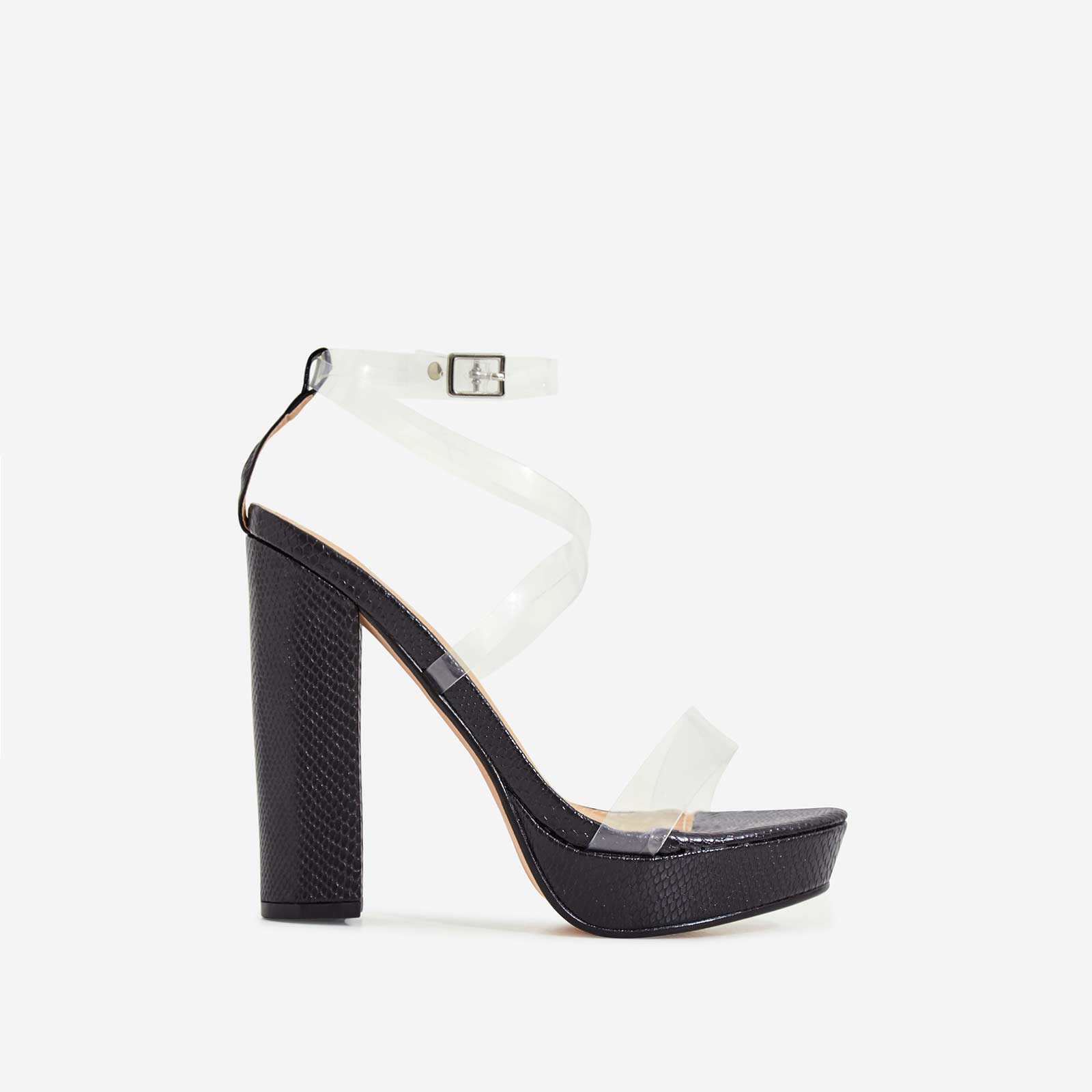 Bumble Perspex Platform Block Heel In Black Patent