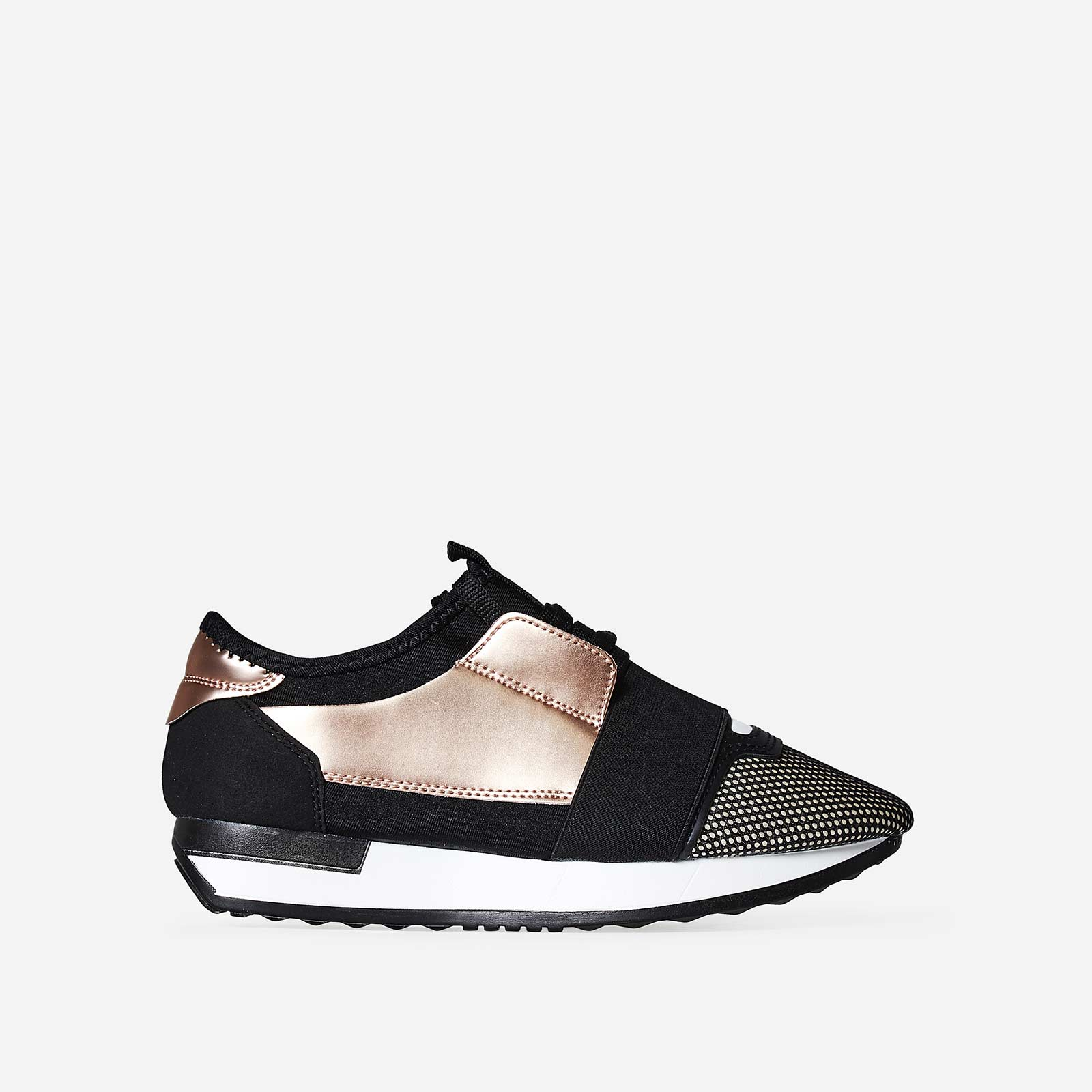 Jenna Elastic Strap Rose Gold Trainer In Black Lycra