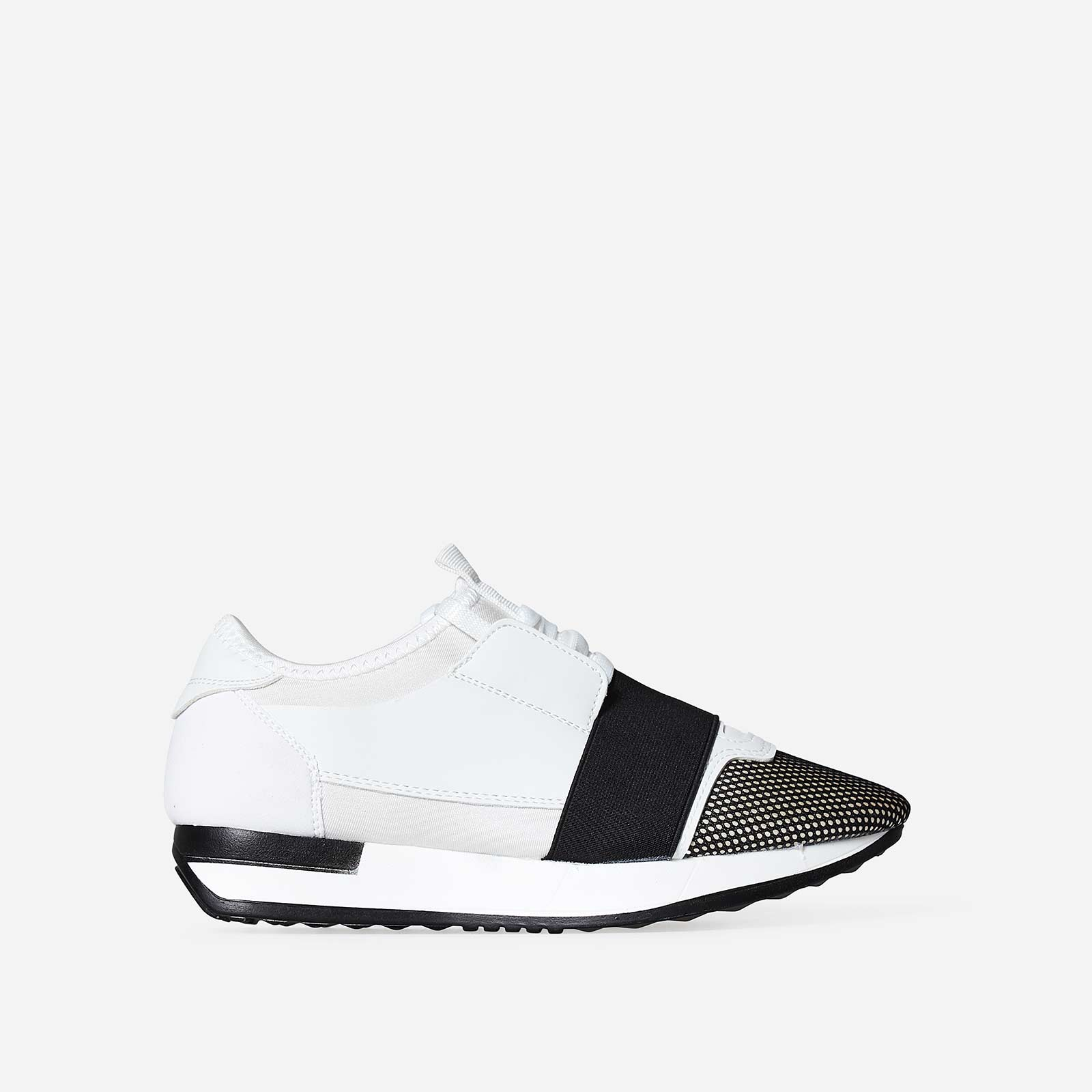 Jenna Black Elastic Strap Trainer In White Lycra