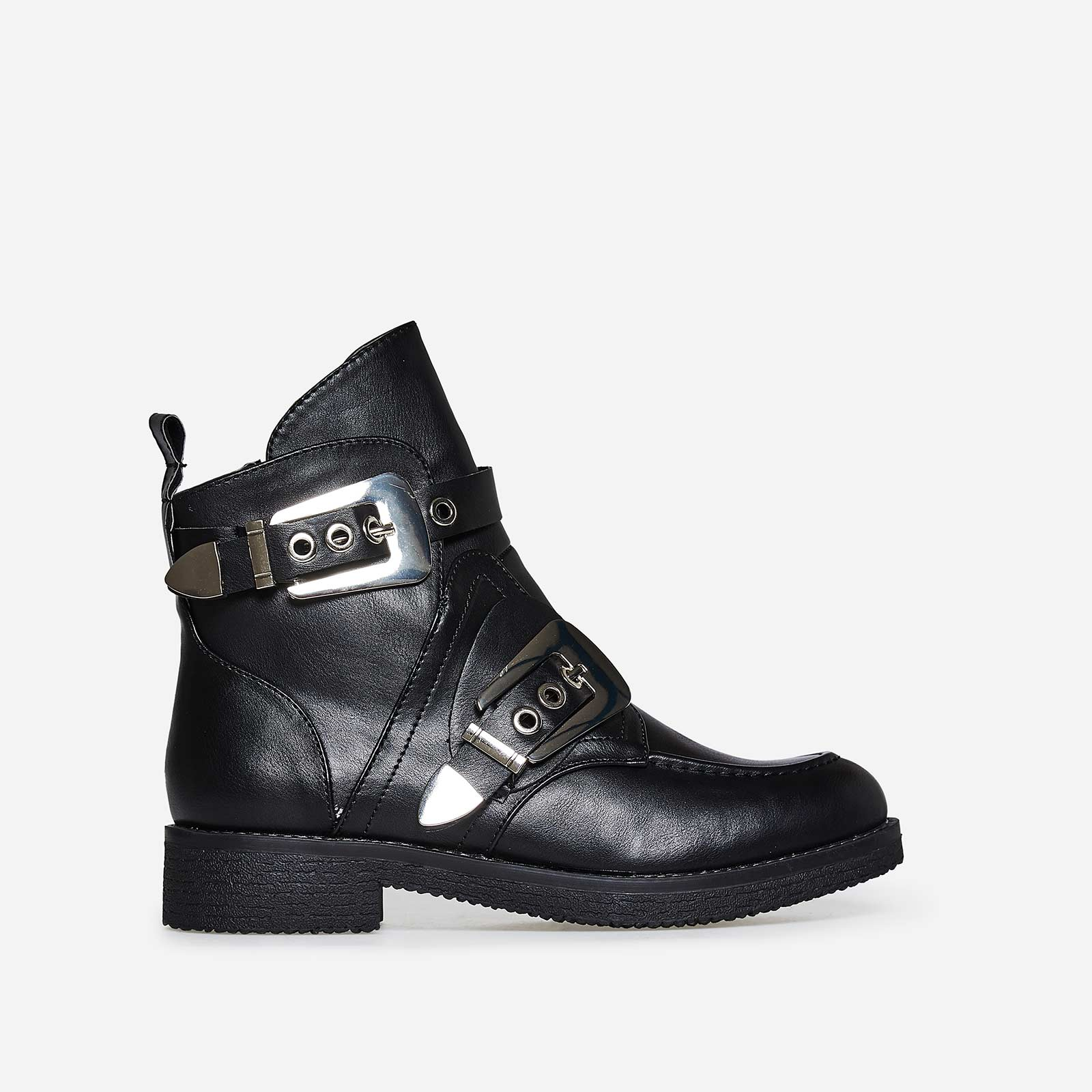 Veyron Buckle Detail Biker Boot In Black Faux Leather
