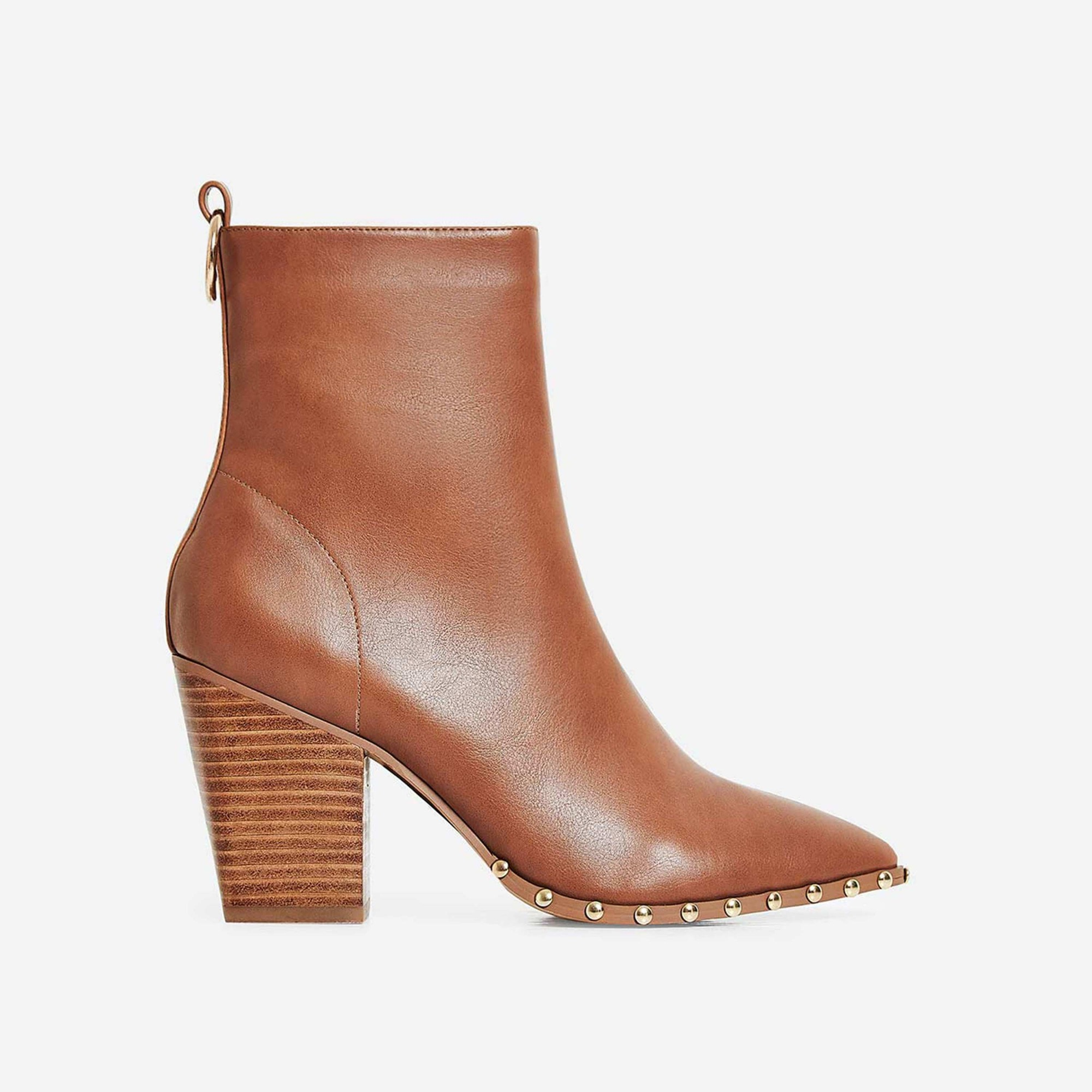Candice Studded Detail Block Heel Ankle Boot In Tan Faux Leather