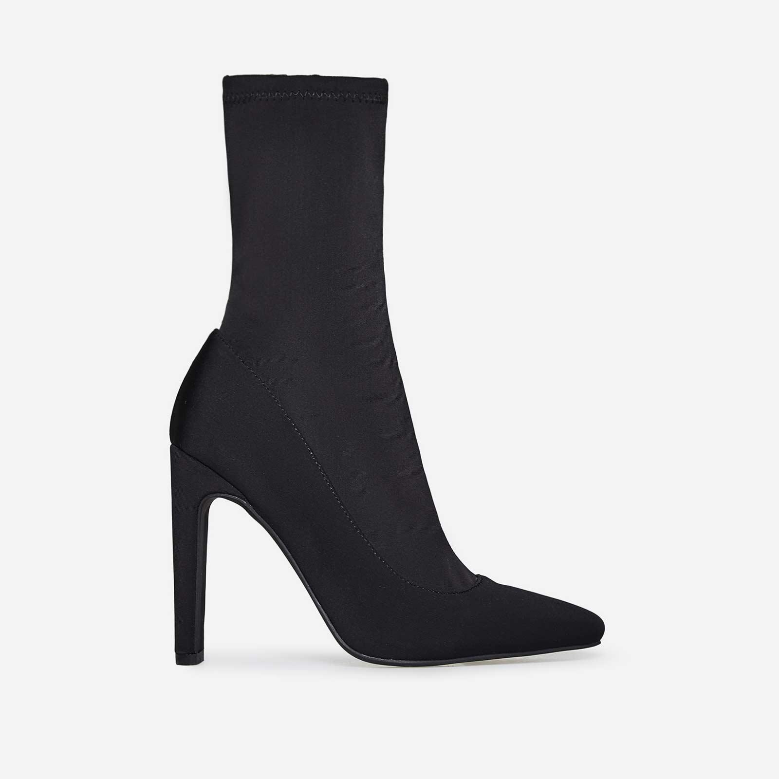 Cassia Square Heel Sock Boot In Black Lycra