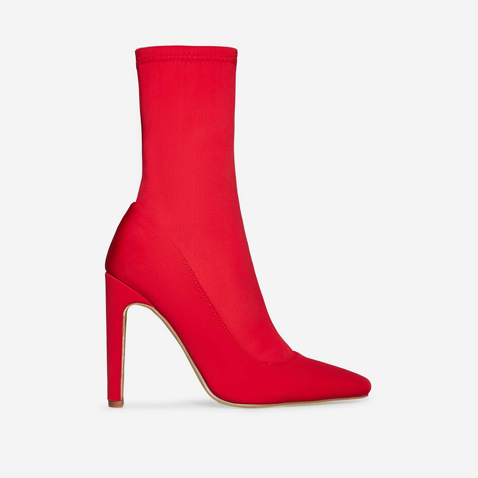 Cassia Square Heel Sock Boot In Red Lycra