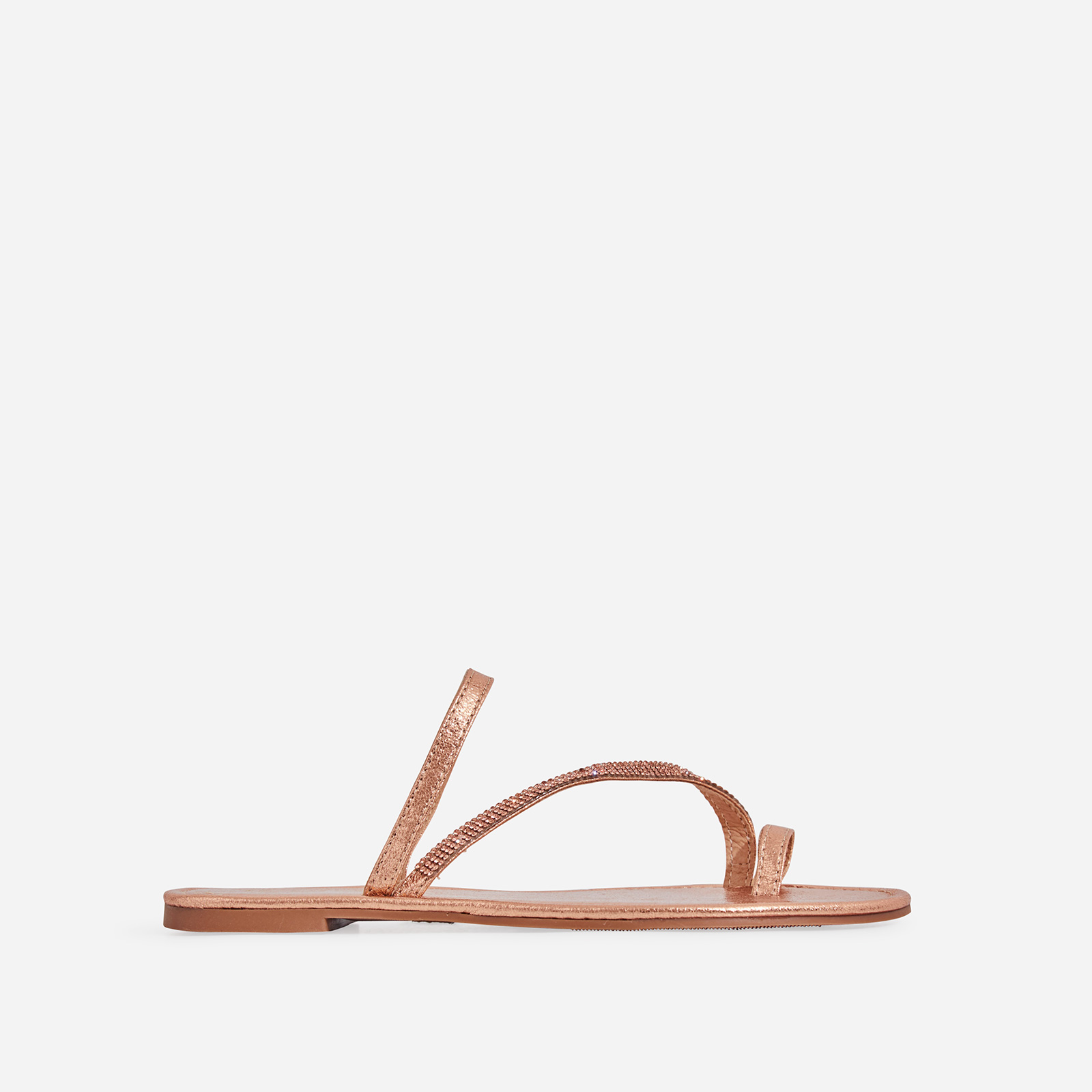Casta Diamante Detail Toe Strap Slider In Rose Gold Faux Leather