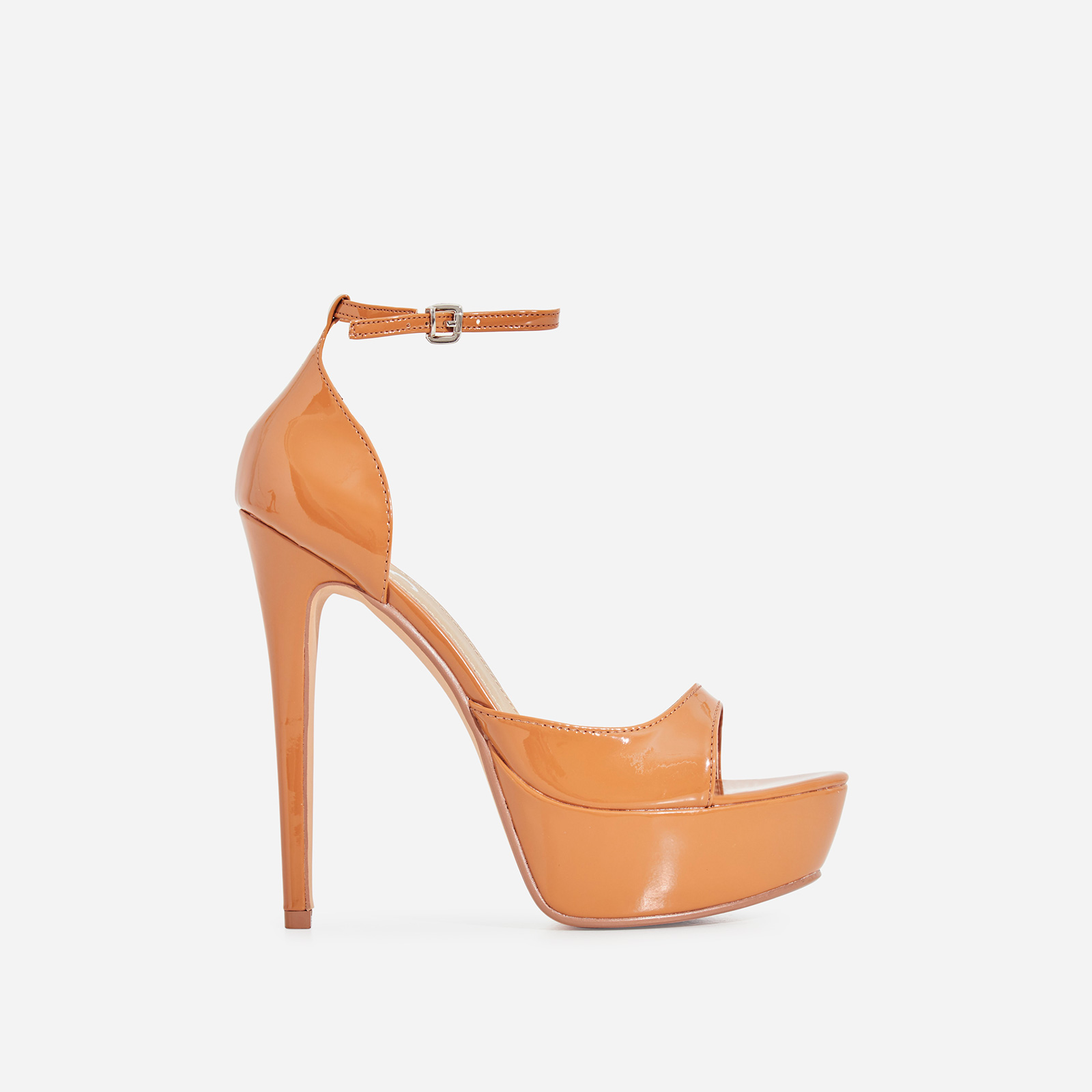 Catwalk Peep Toe Platform Heel In Mocha Patent