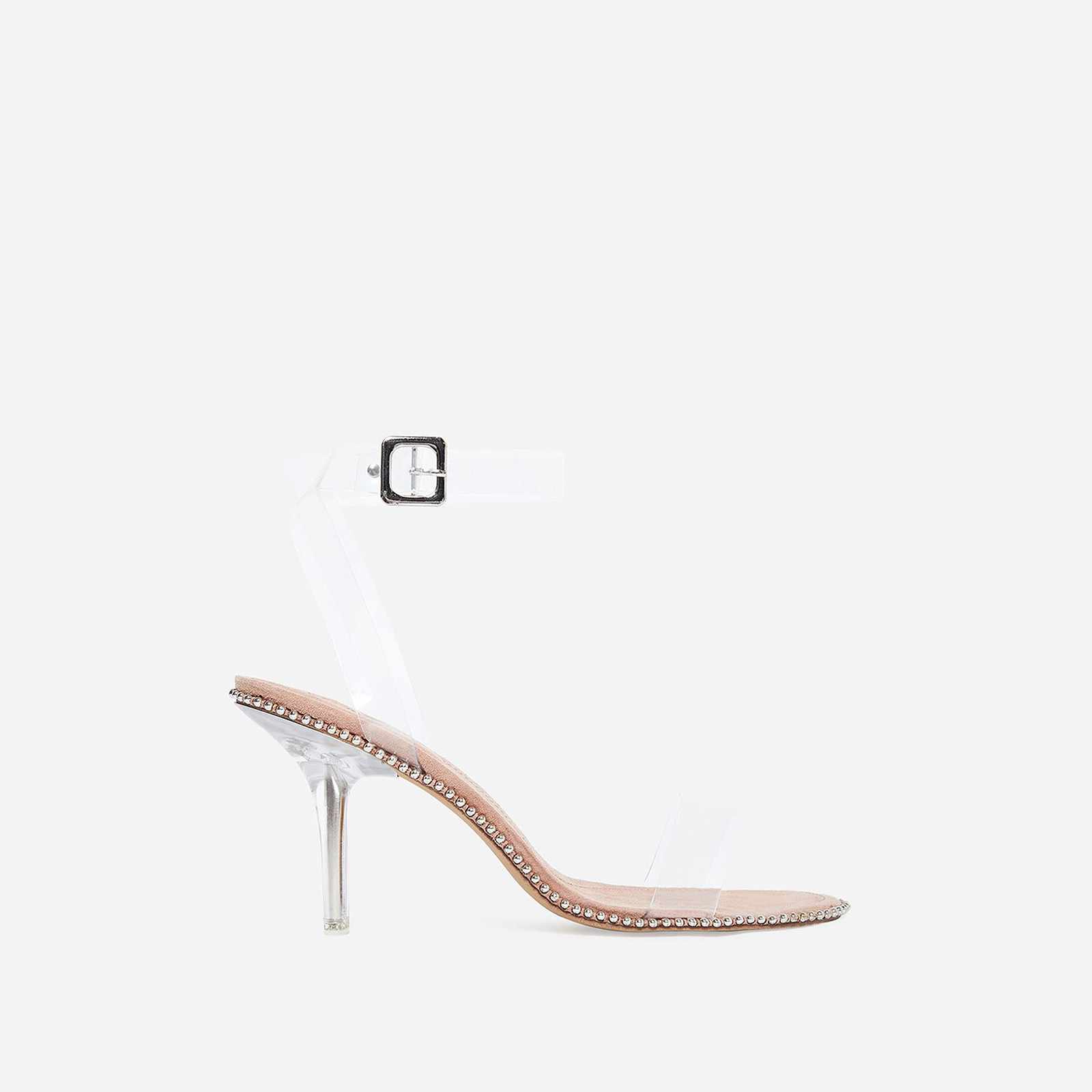 Charmed Studded Detail Barely There Perspex Heel In Nude Faux Suede