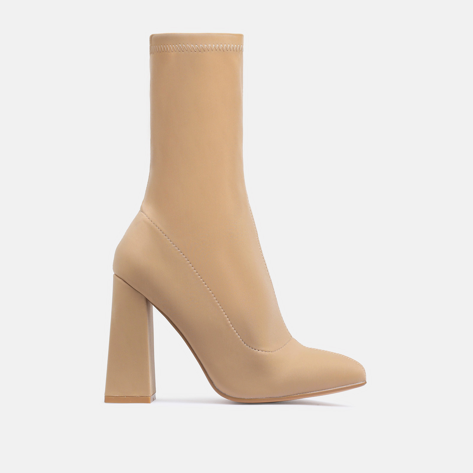 Chesta Block Heel Ankle Boot In Nude Lycra