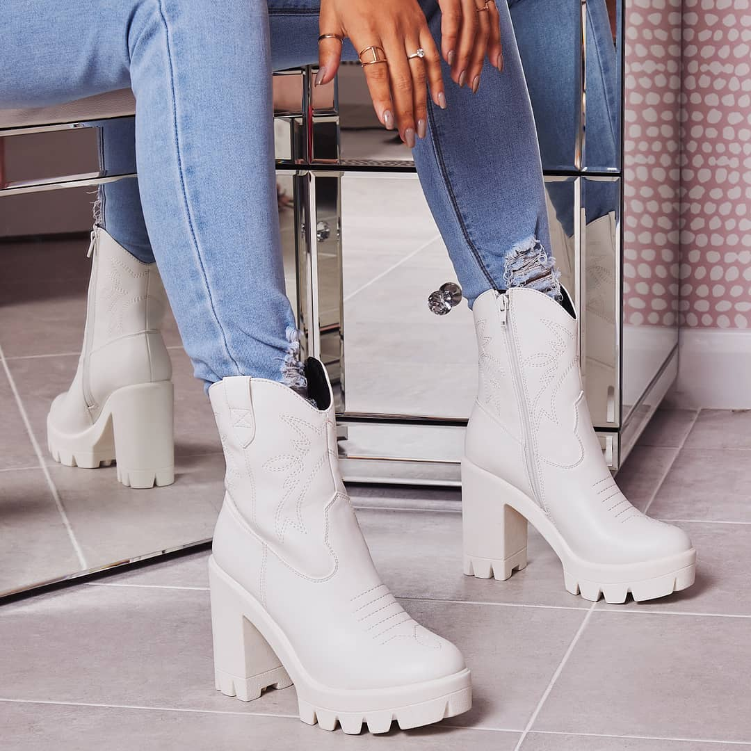 Chill Platform Chunky Sole Western Boot In White Faux Leather