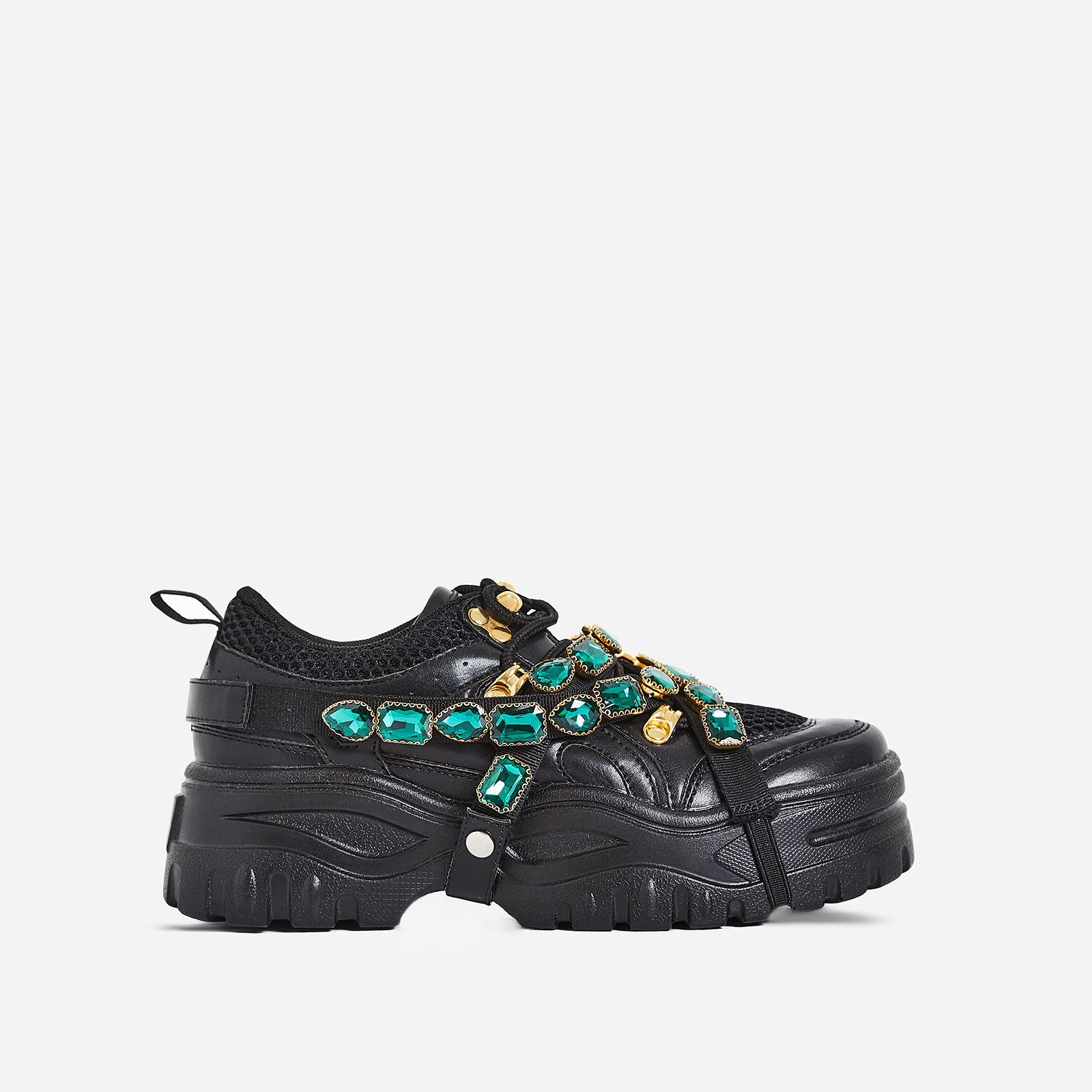 Fever Gem Embellished Sneaker In Black Faux Leather