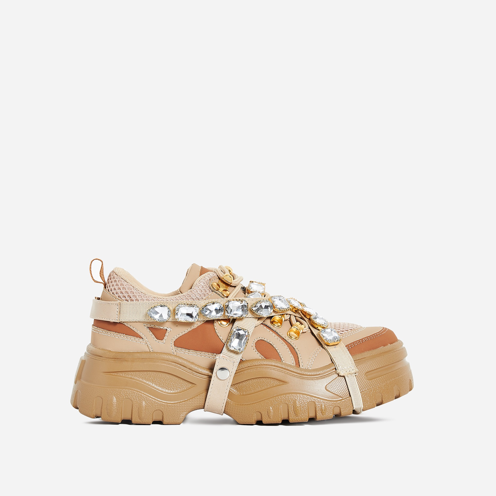 Fever Gem Embellished Sneaker In Nude Faux Leather