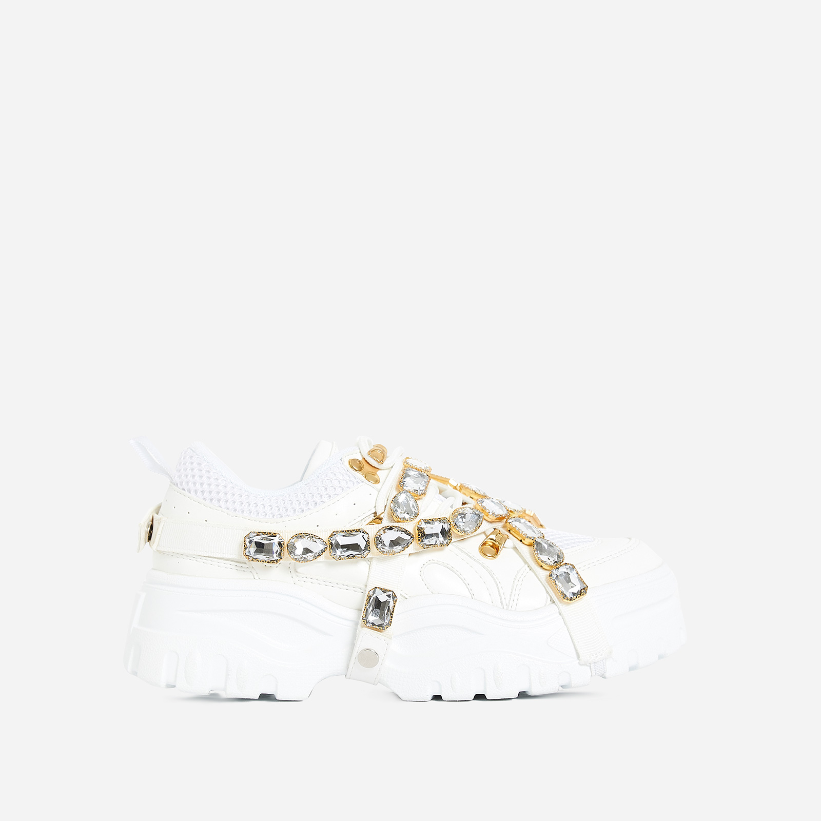 Fever Gem Embellished Sneaker In White Faux Leather