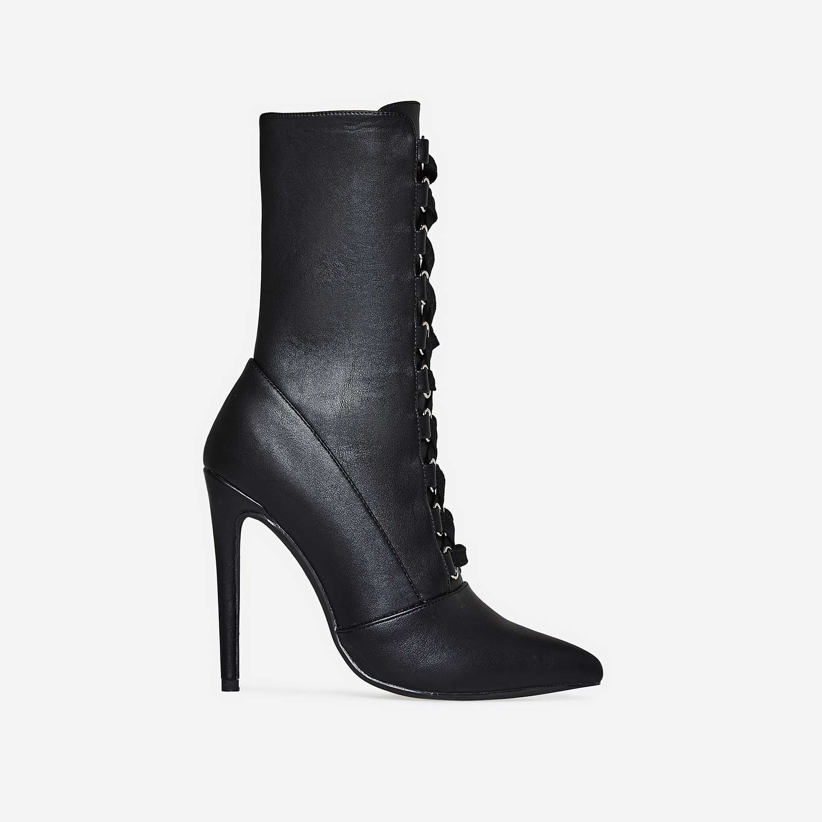 Cleo Pointed Toe Lace Up Ankle Boot In Black Faux Leather