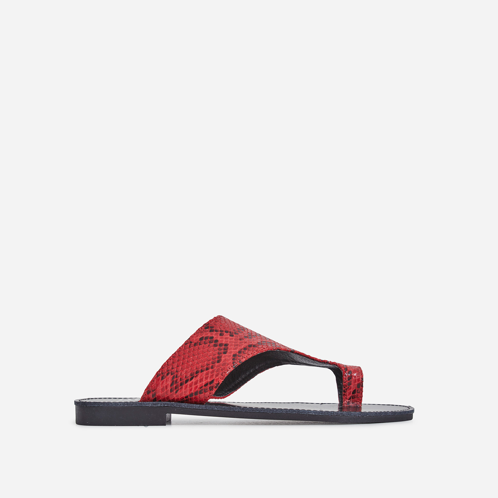Cleo Toe Strap Slider In Red Snake Print Faux Leather