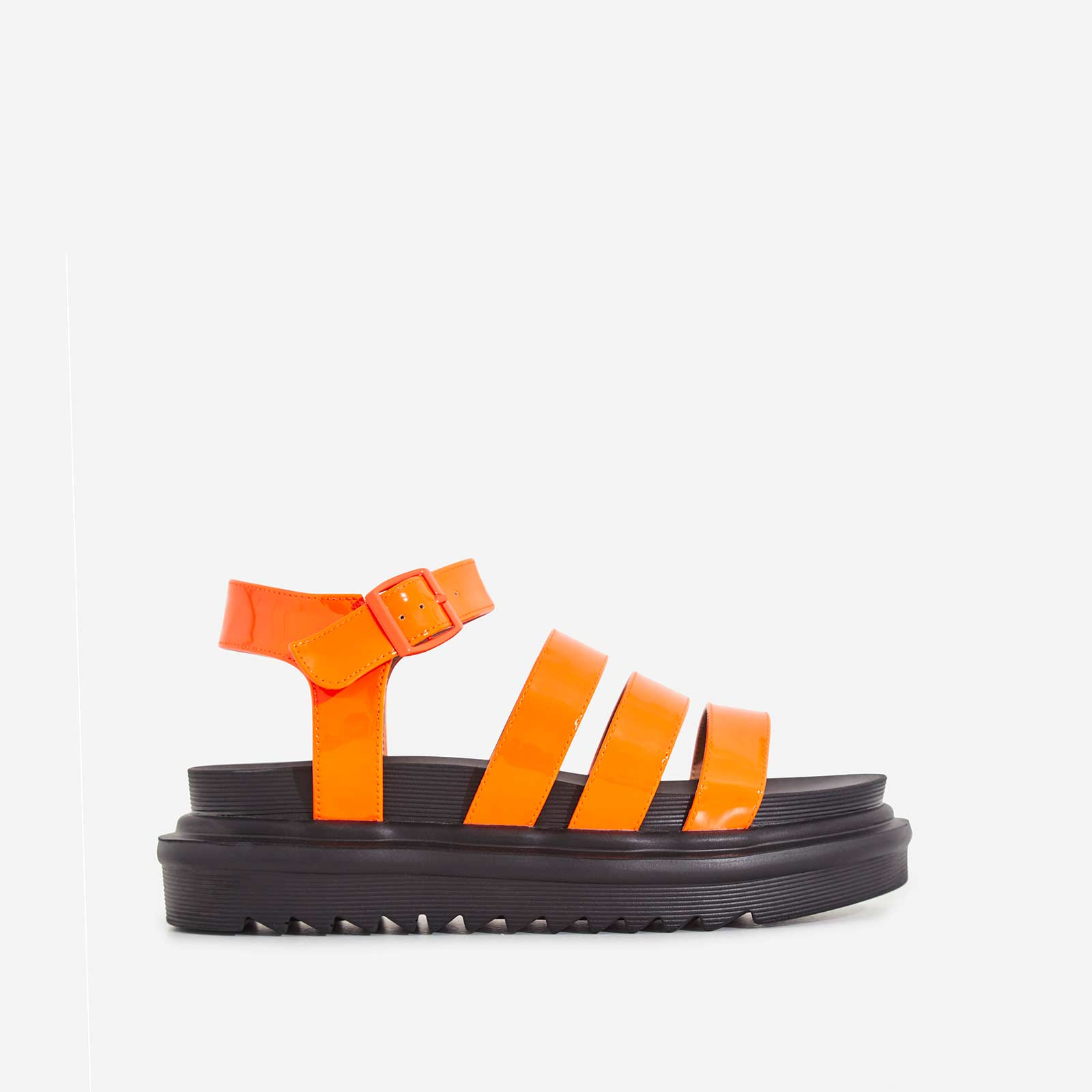 Clueless Chunky Sole Sandal In Neon Orange Patent