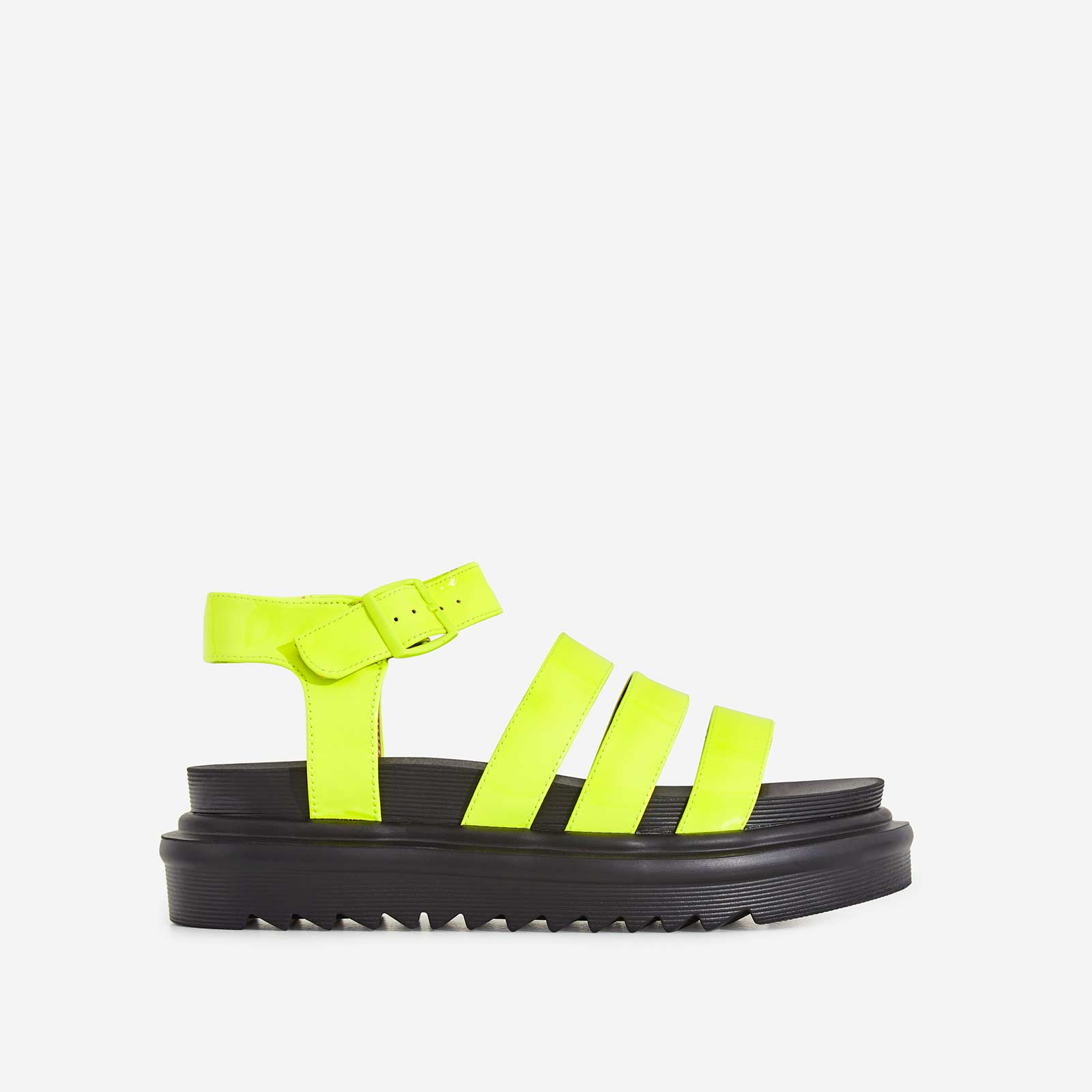 Clueless Chunky Sole Sandal In Neon Yellow Patent