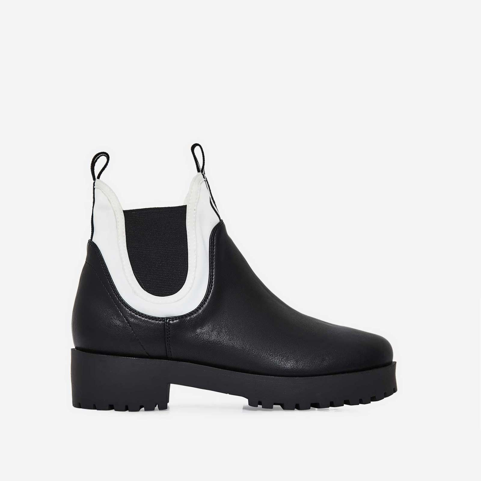 Cody White Lycra Trim Ankle Boot In Black Faux Leather