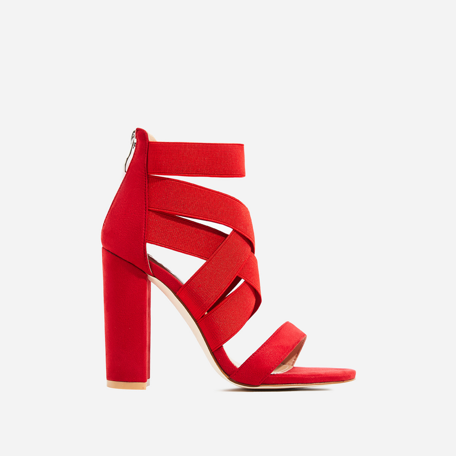 Connie Elasticated Caged Block Heel In Red Faux Suede