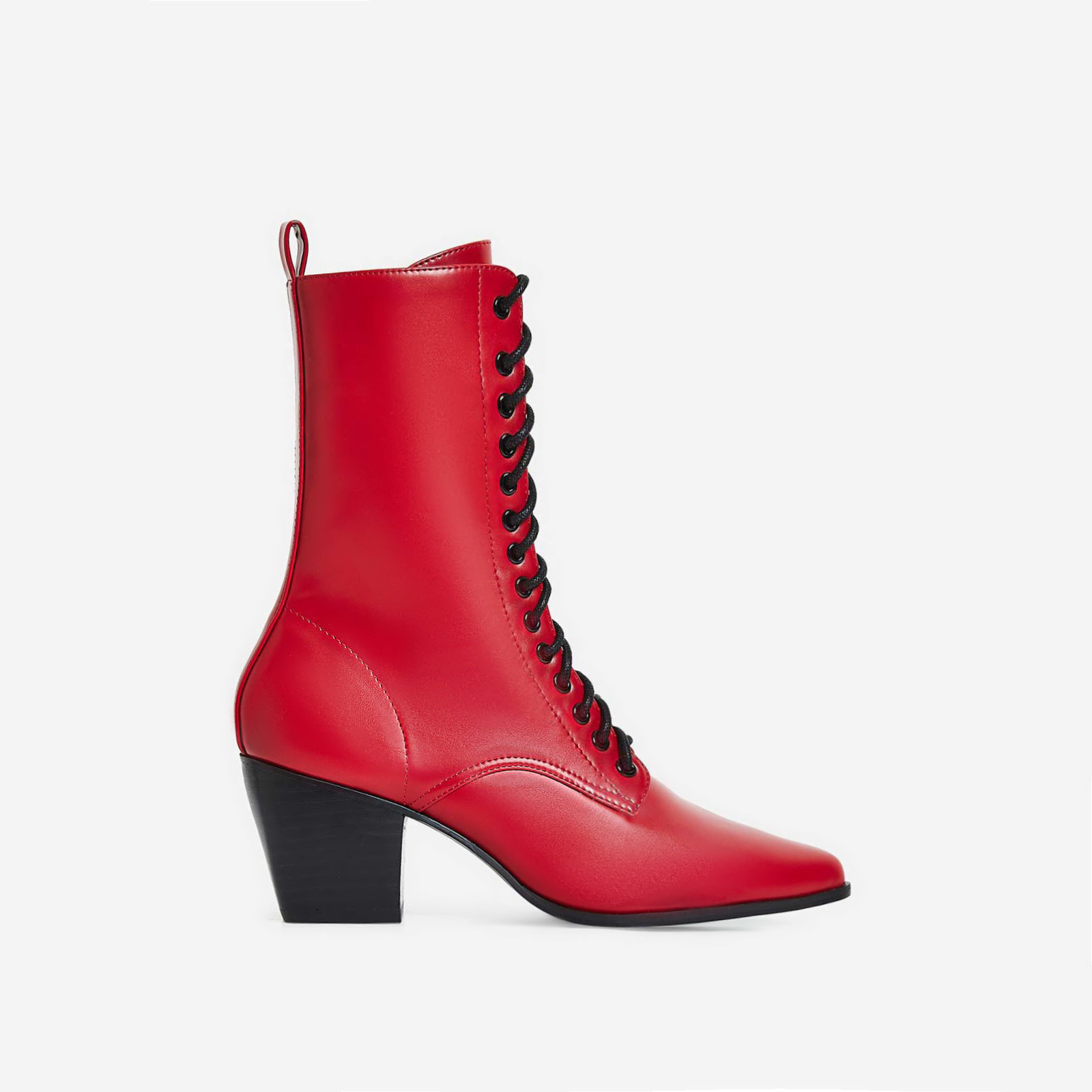 Corley Lace Up Ankle Boot In Red Faux Leather