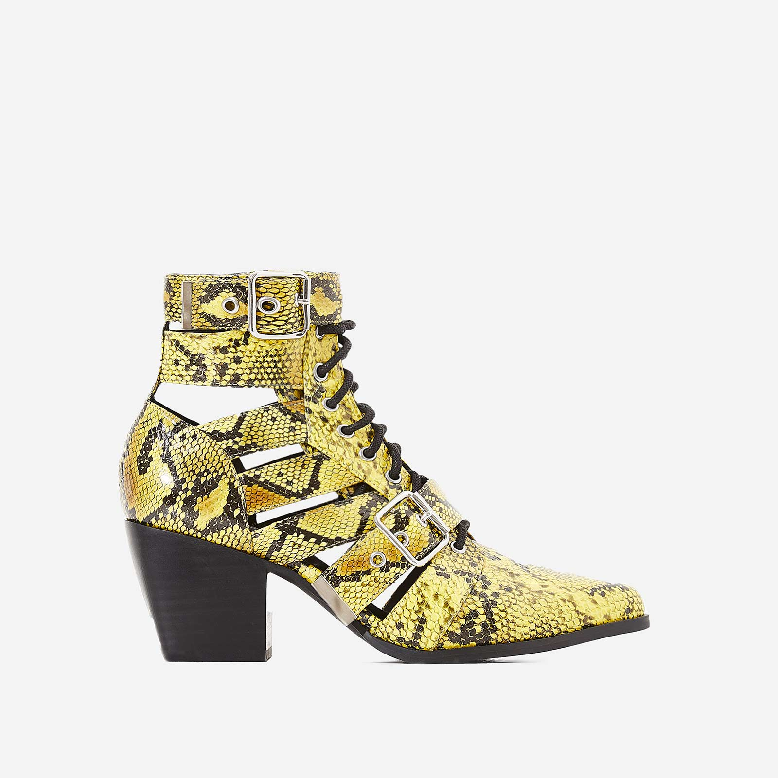 Cotto Cut Out Lace Up Ankle Western Boot In Yellow Snake Print Faux Leather