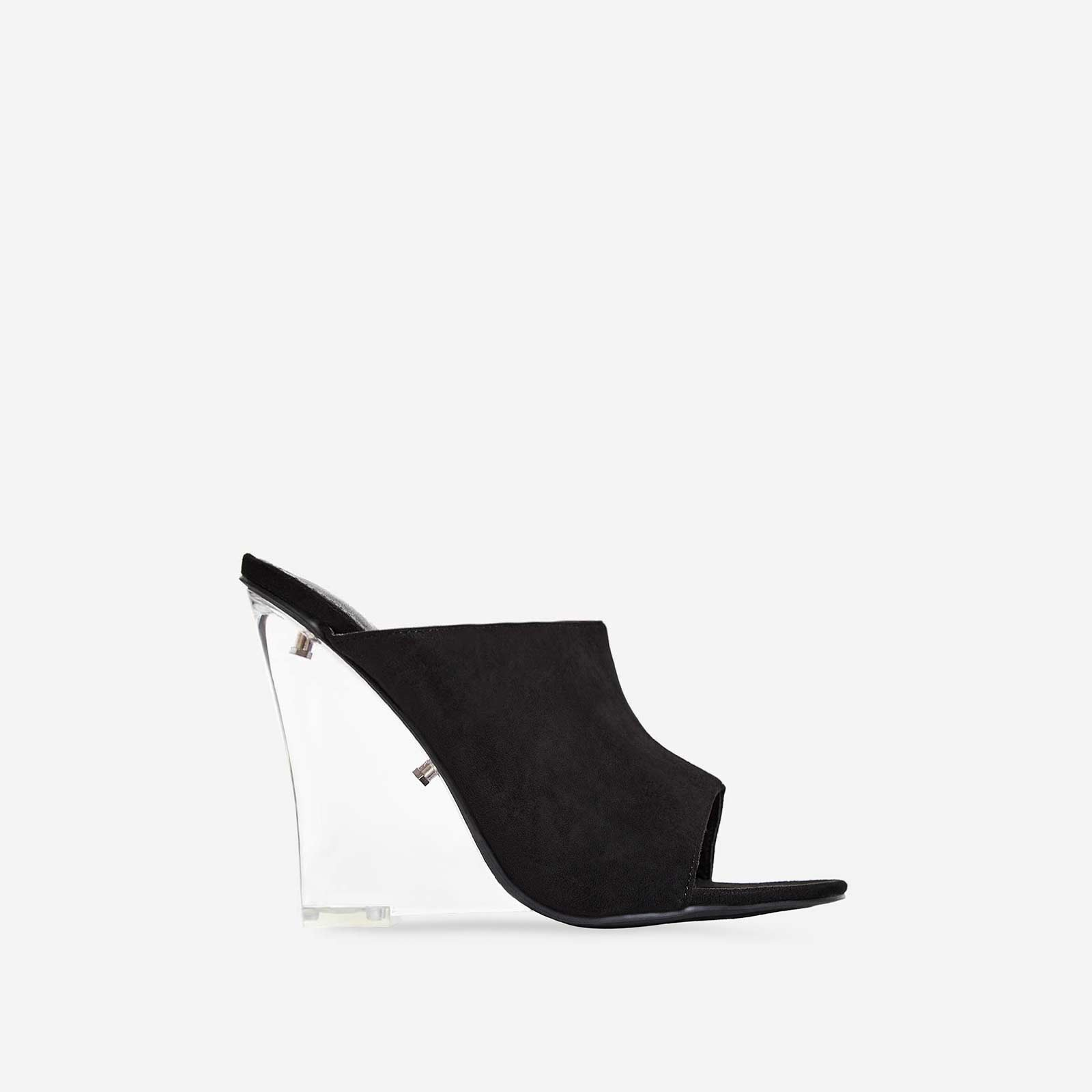 Candy Perspex Wedge Mule In Black Faux Suede