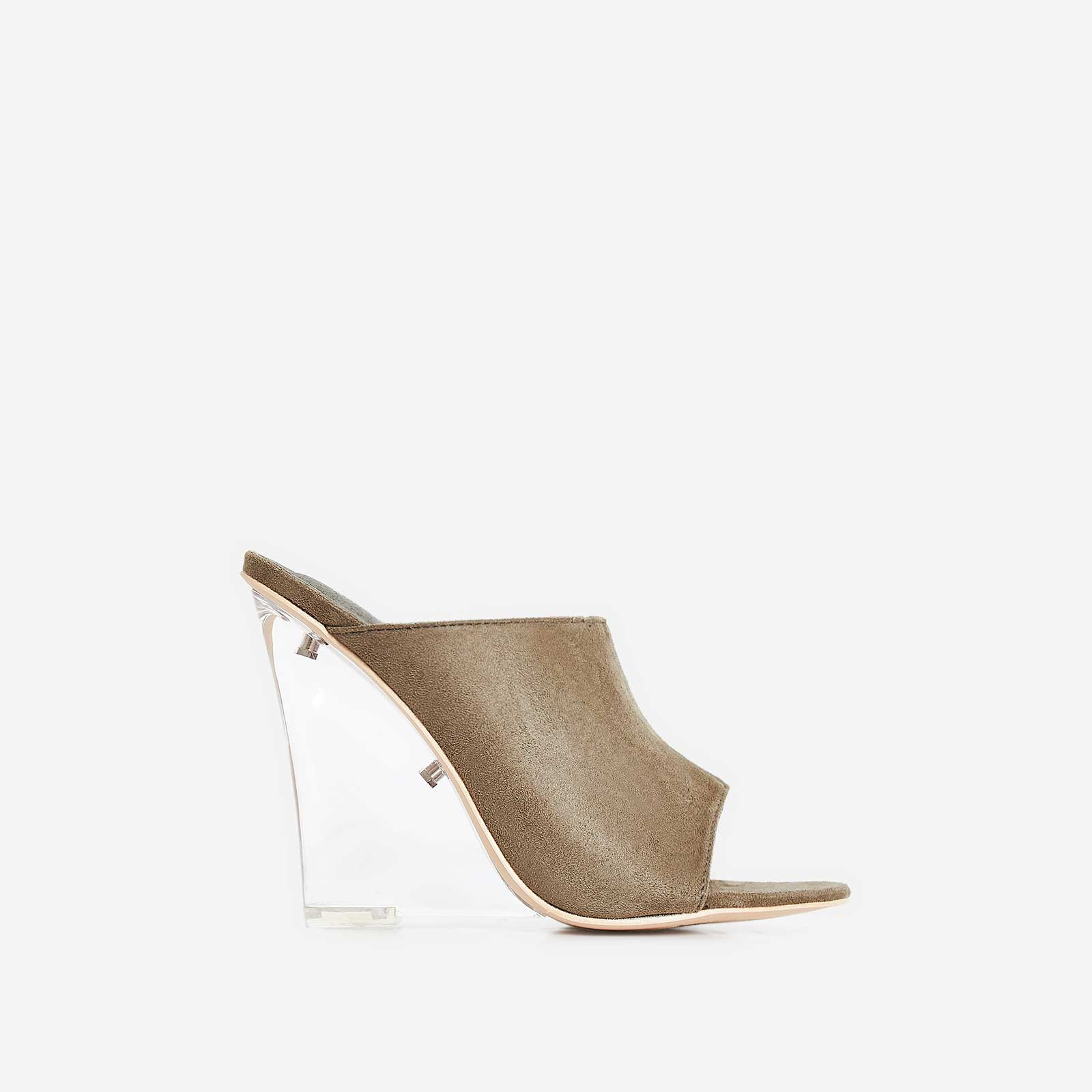 Candy Perspex Wedge Mule In Khaki Faux Suede