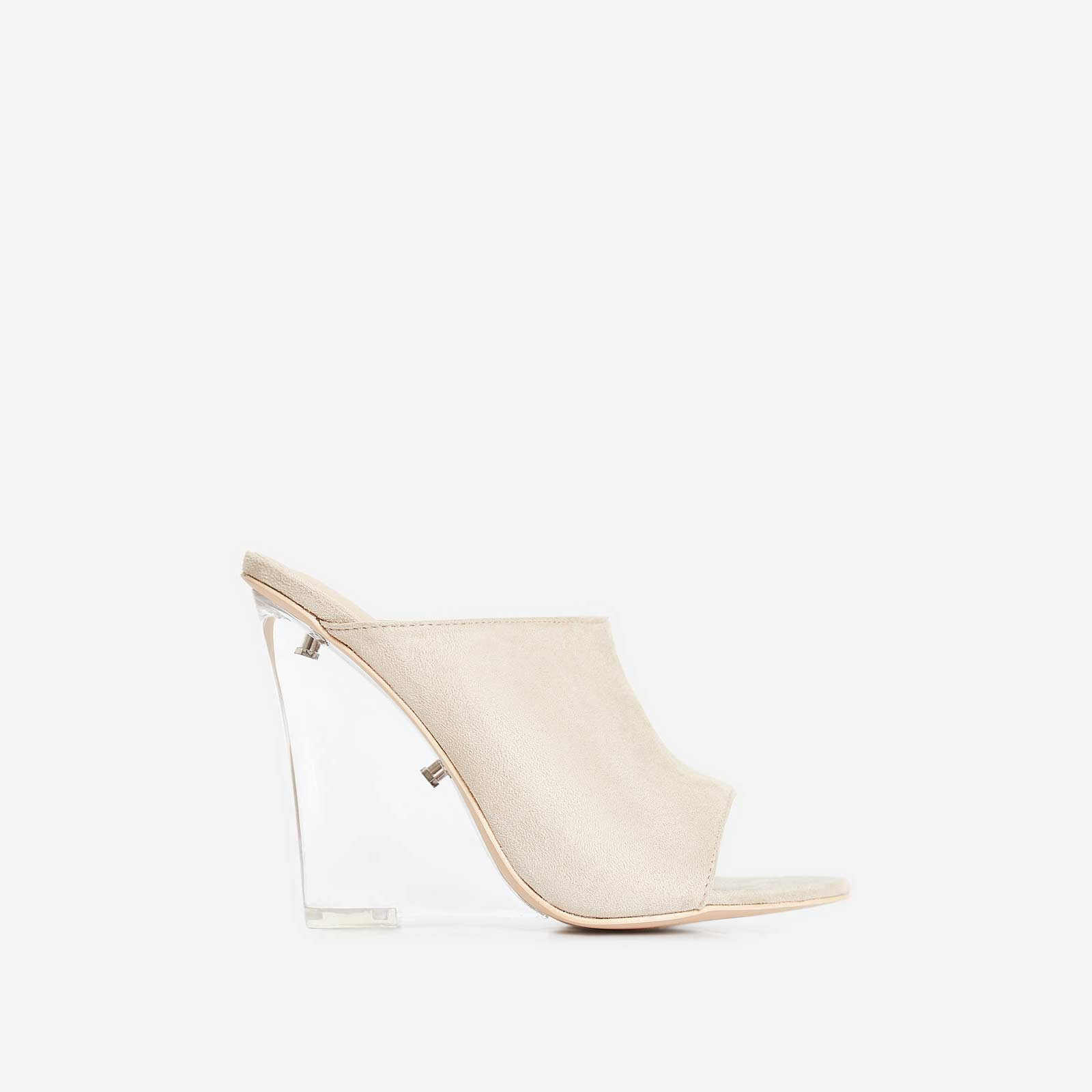 Candy Perspex Wedge Mule In Nude Faux Suede