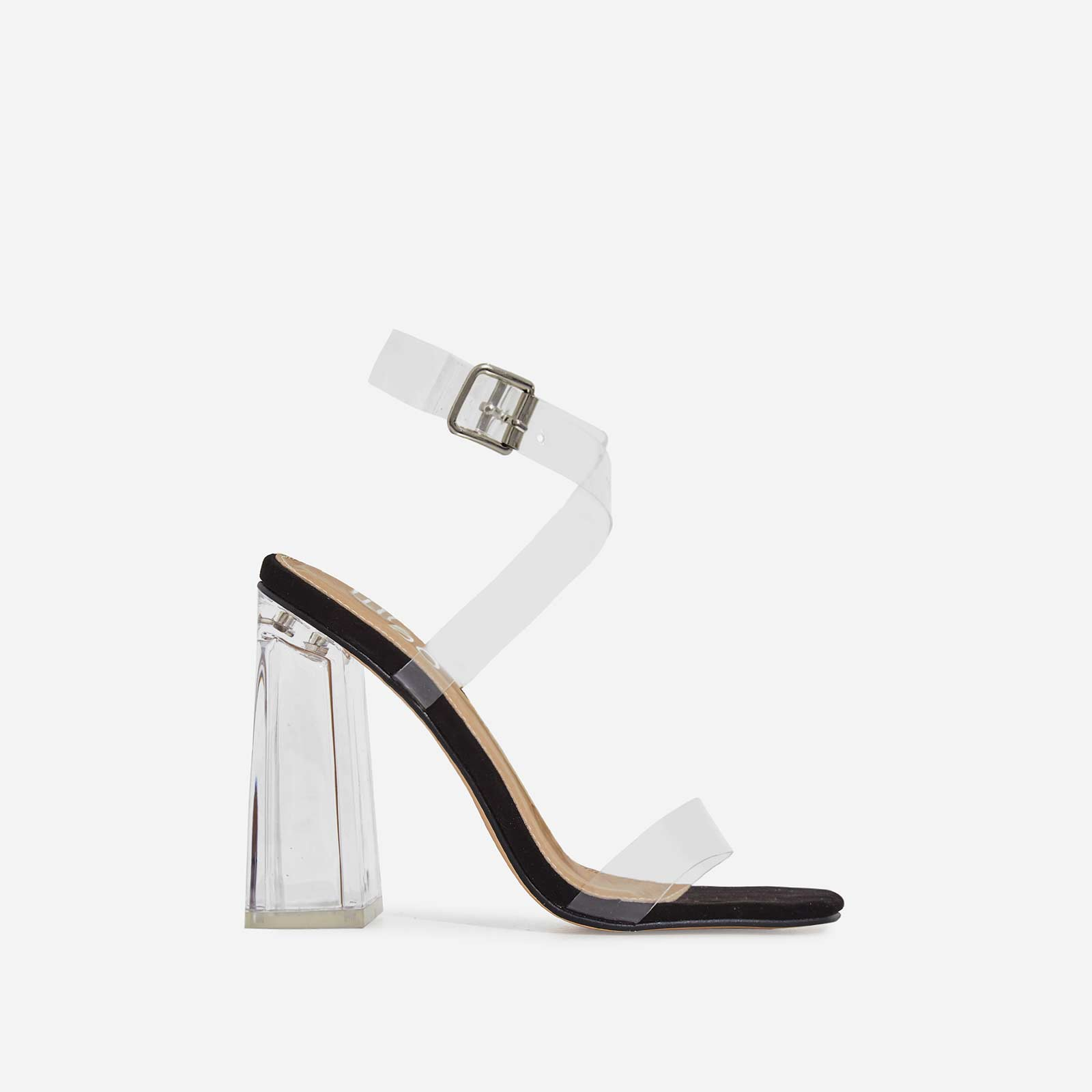 Saint Square Toe Perspex Flared Block Heel In Black Patent
