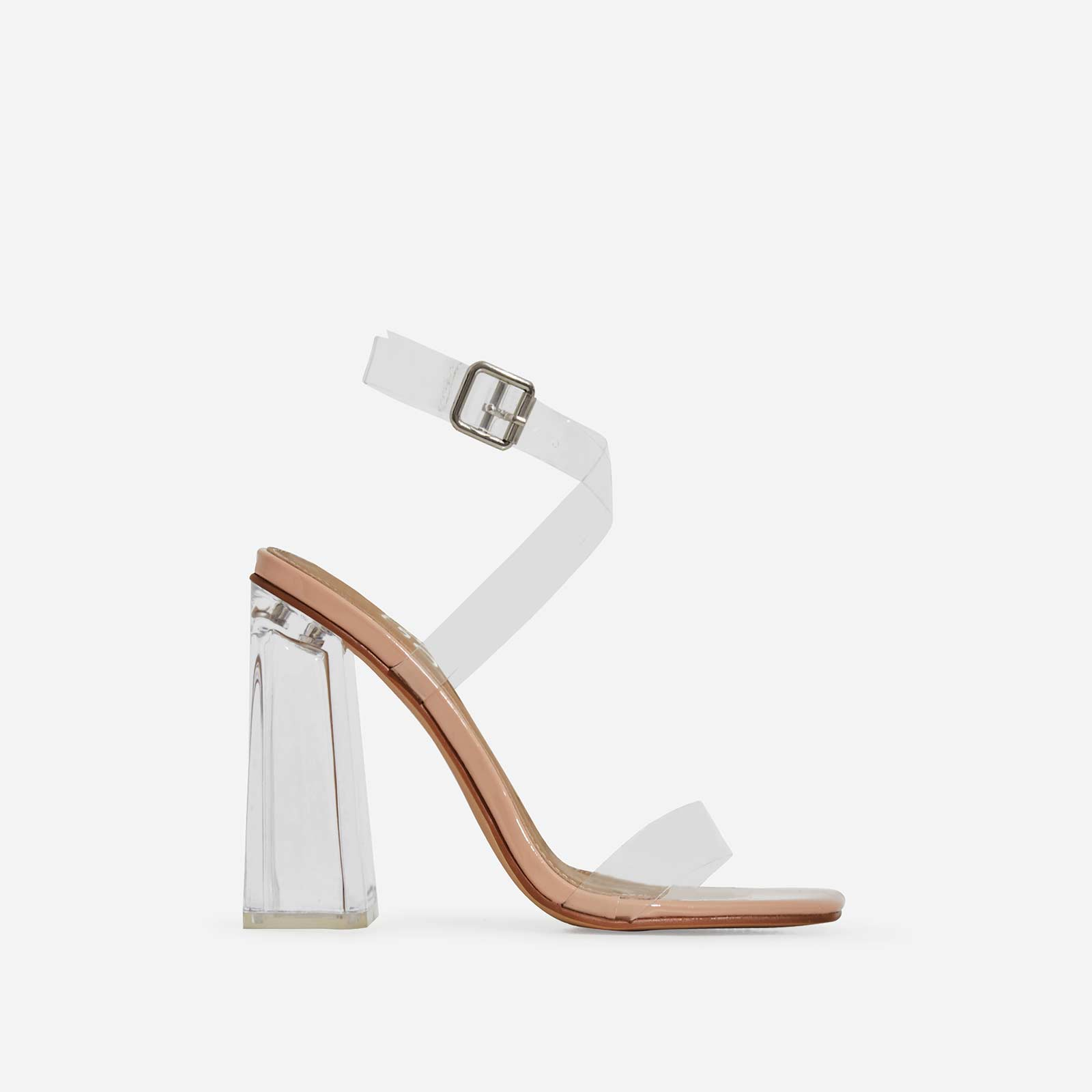 Saint Square Toe Perspex Flared Block Heel In Nude Patent